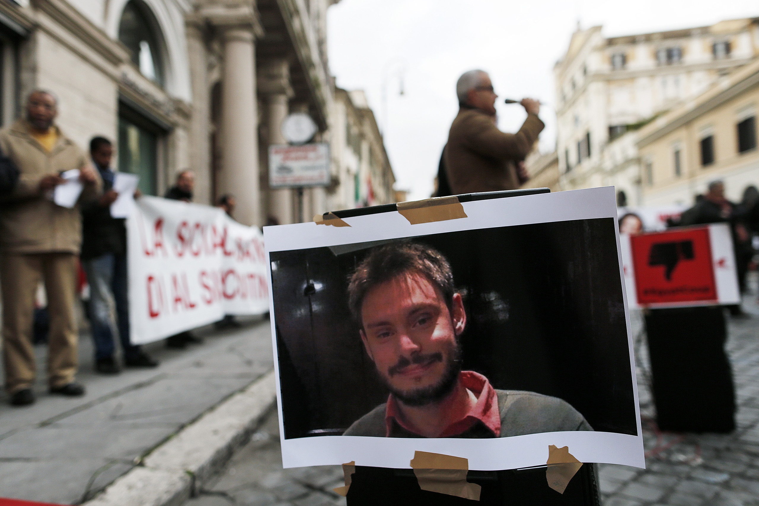 The demonstration in Rome's Piazza Santi Apostoli to demand justice for the death of Italian graduate student Giulio Regeni, who was found dead in Egypt, Feb. 13, 2016.