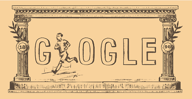 Google Doodle marking the 120th anniversary of the first modern Olympic games