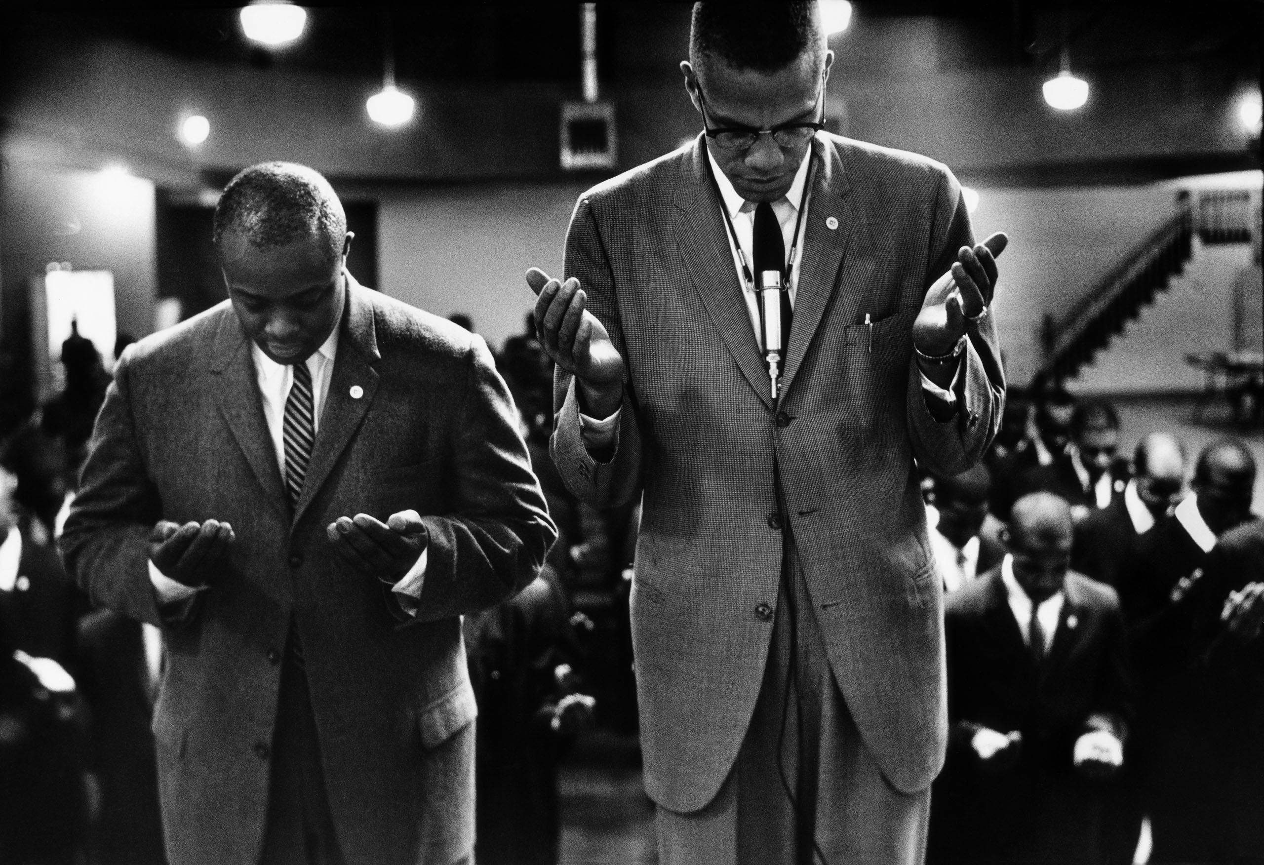 Malcolm X Leads Muslims in Prayer, Chicago, 1963, from Black Muslims.