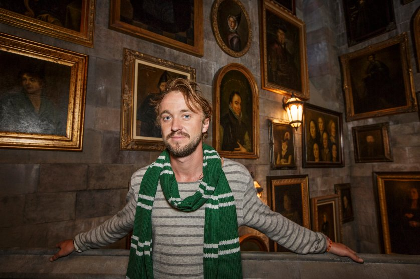 Tom Felton, who played Draco Malfoy, inside the Portrait Gallery in Hogwarts Castle.