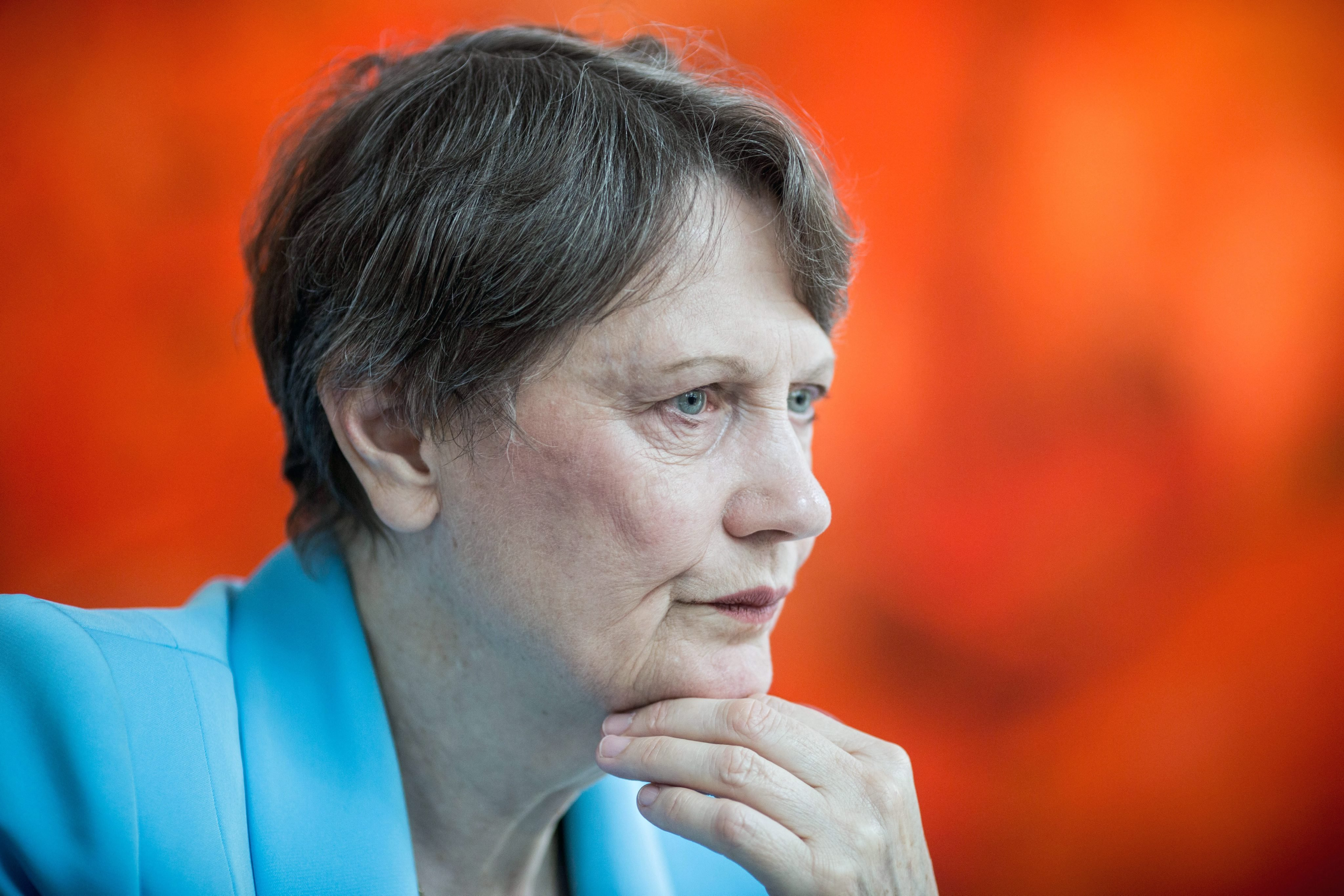 Helen Clark looking on as she speaks during an interview in Berlin, on Sept. 16, 2015.