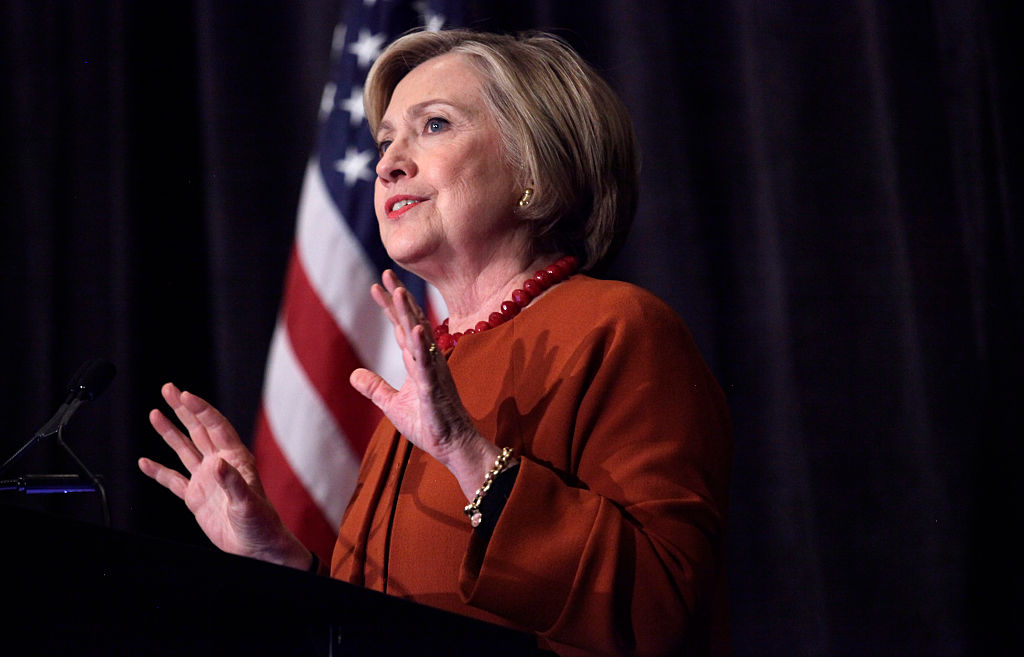 Democratic presidential candidate Hillary Clinton speaks in Milwaukee, Wisc., on April 2, 2016.