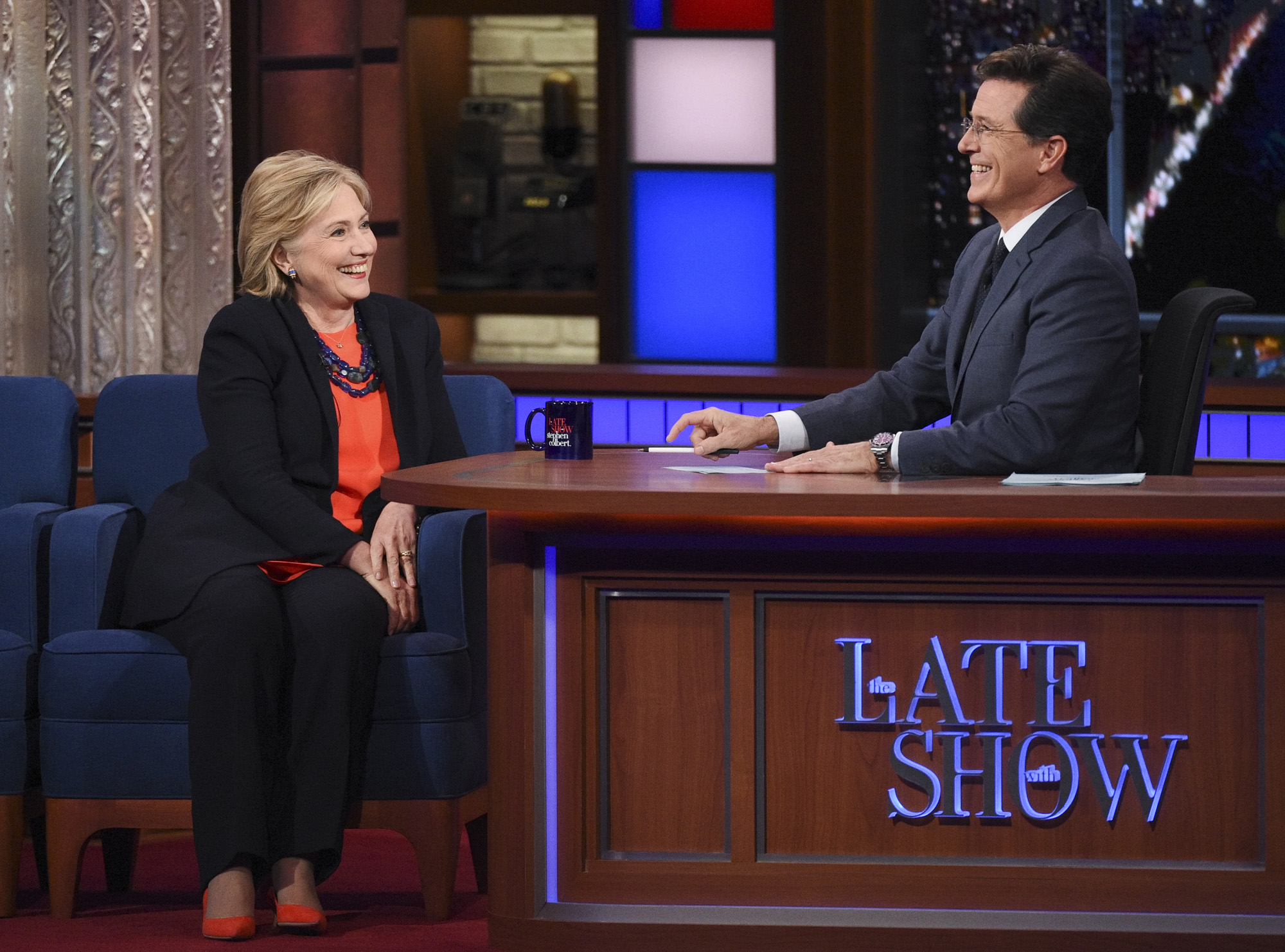 Presidential Candidate Hillary Clinton chats with Stephen on The Late Show with Stephen Colbert on Oct. 27, 2015.