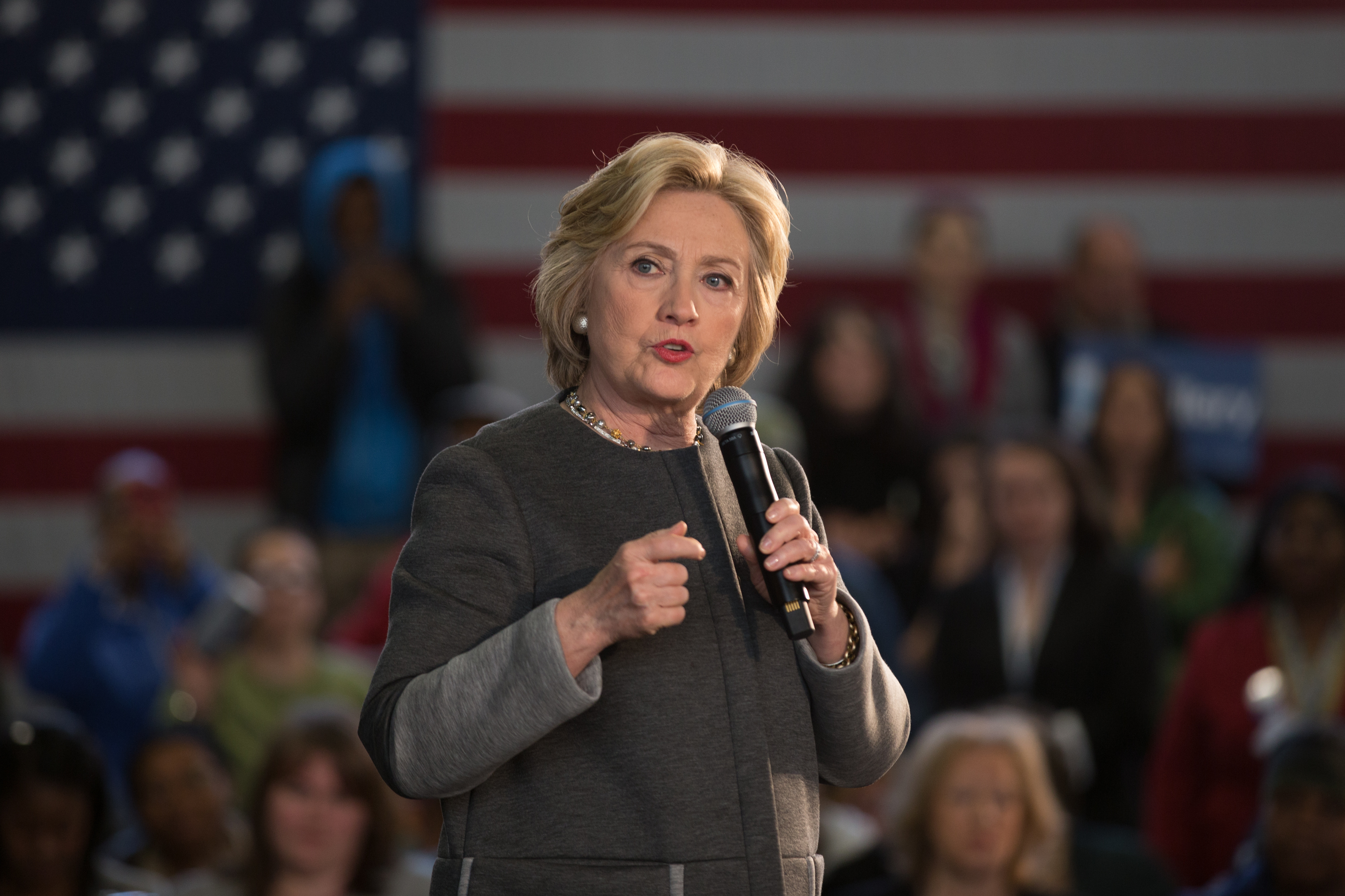 Hillary Clinton speaks at Hillary Town Hall with Congresswomen Yvette Clarke and First lady of New York City Chirlane McCray on April 5, 2016.