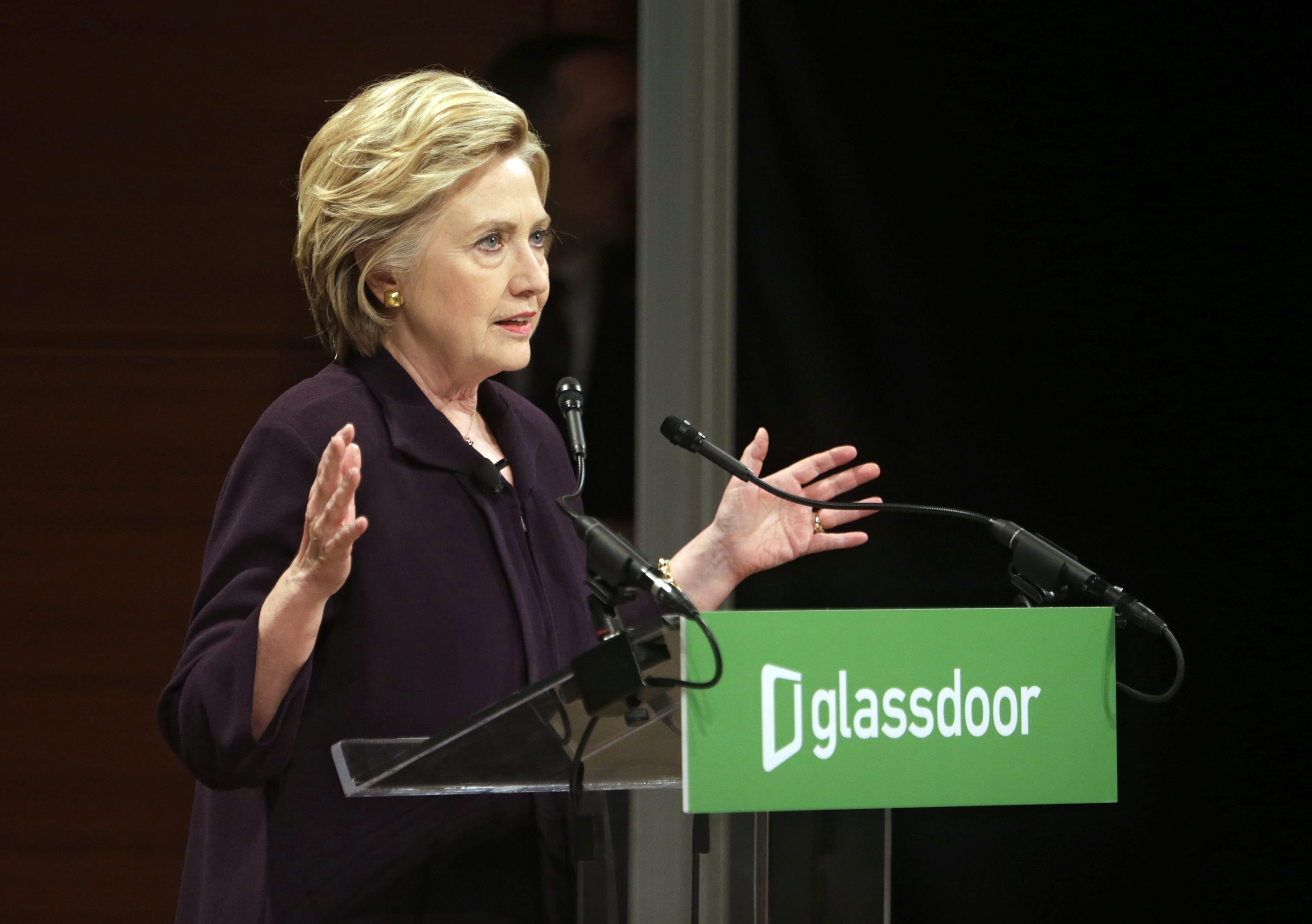 Hillary Clinton addresses an audience  during a Glassdoor roundtable discussion in New York City, on April 12, 2016.