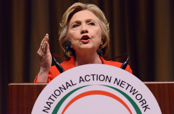 Democratic presidential candidate former Secretary of State Hillary Clinton speaks at the NAN 25th Anniversary National Convention at New York Sheraton Hotel & Tower on April 13, 2016 in New York City.