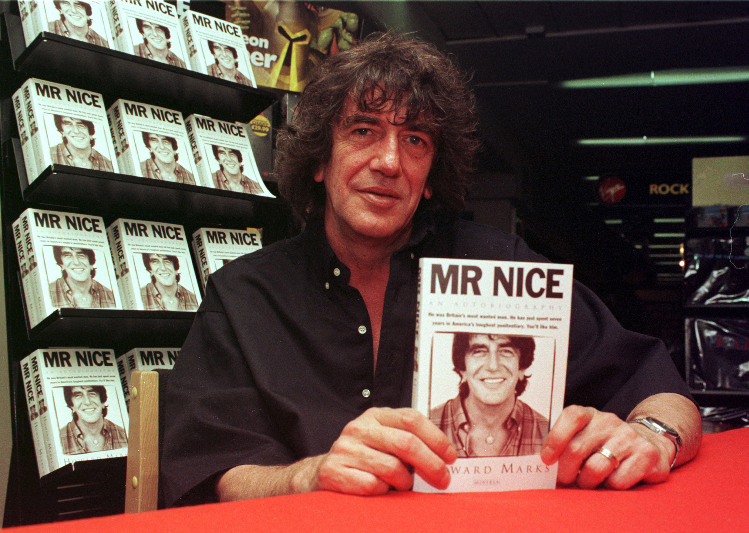 Former drug smuggler and author Howard Marks, who has died aged 70, at a Virgin Megastore where he was signing copies of his autobiography 'Mr Nice' in London on July 4, 1997.