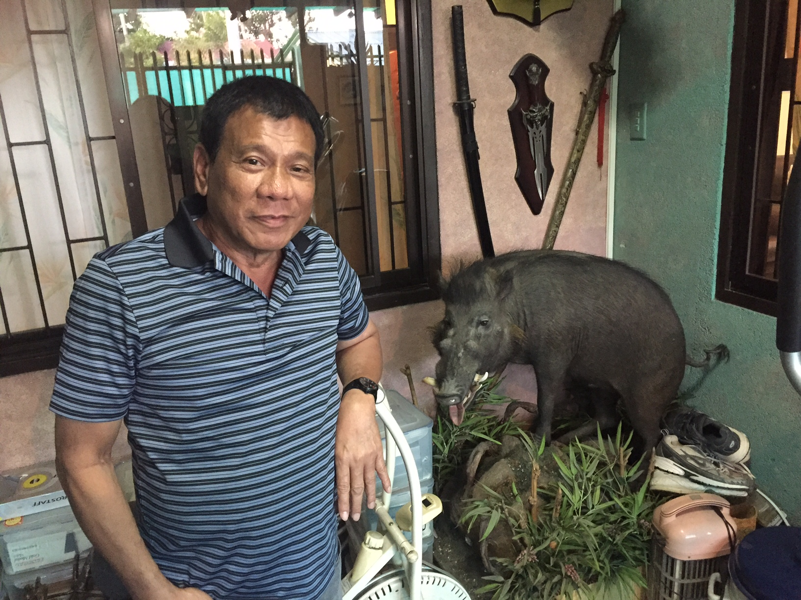 Philippine presidential-election front-runner, Rodrigo   the Punisher  Duterte, stands at his home in Davao City on April 1, 2016, next to a taxidermied wild boar he shot