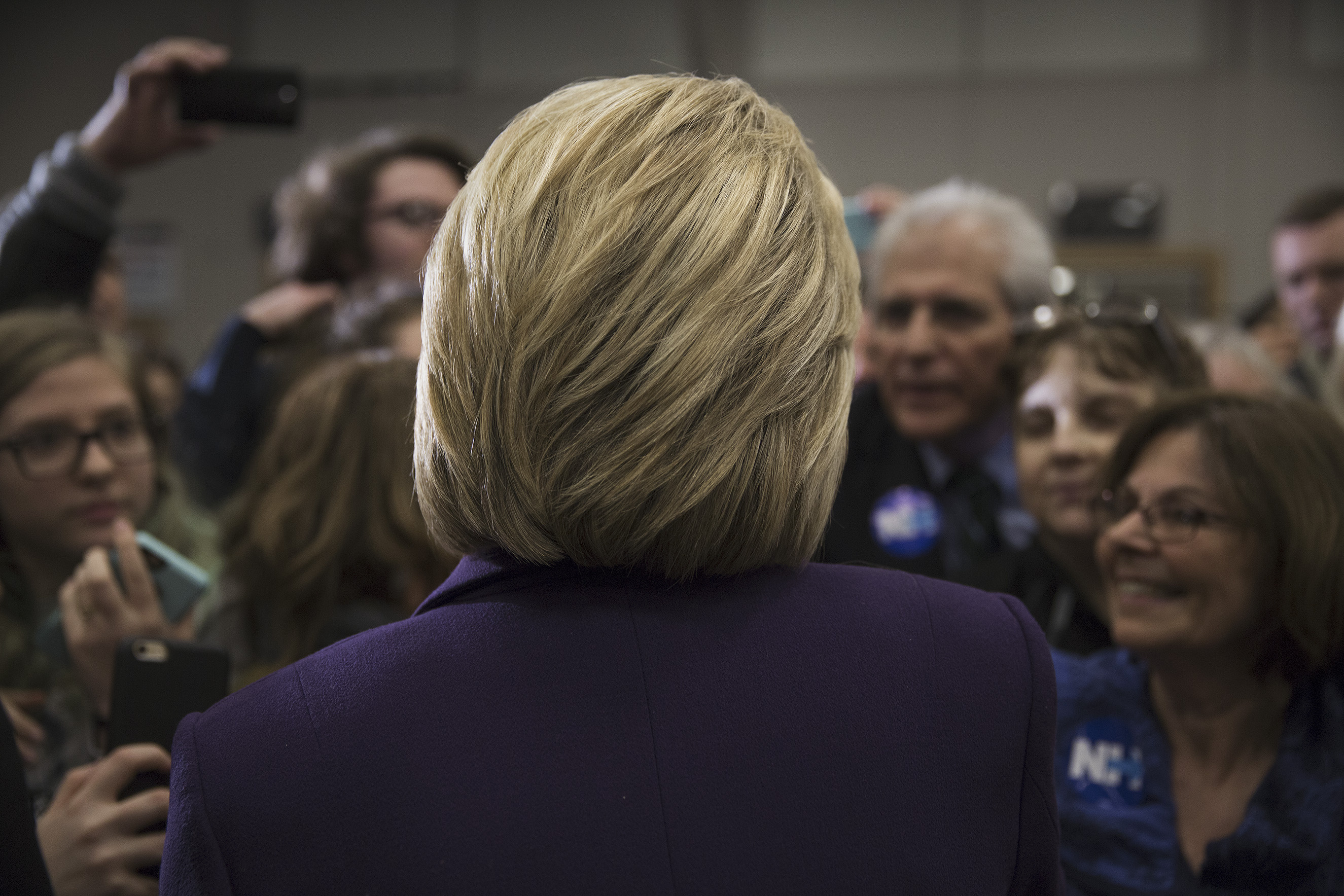 Democratic Presidential candidate Hillary Clinton talks to supporters while campaigning at Winnacunnet High School in Hampton, N.H. Feb. 2, 2016.From  What It's Like to Photograph Hillary Clinton