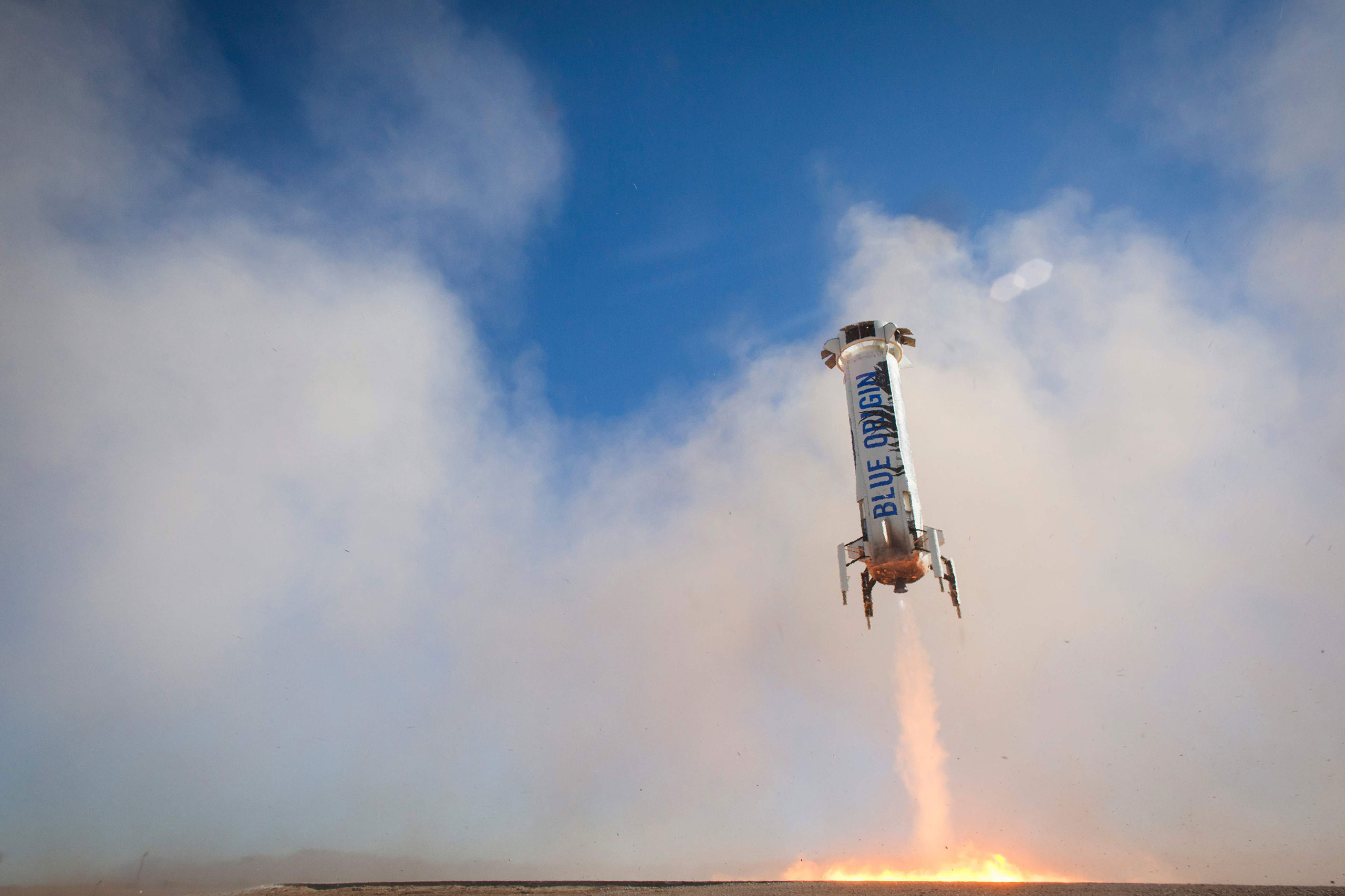 This handout image courtesy of American space firm Blue Origin shows the BE-3 ramping for a successful landing near Van Horn, Texas, on April 2, 2016.