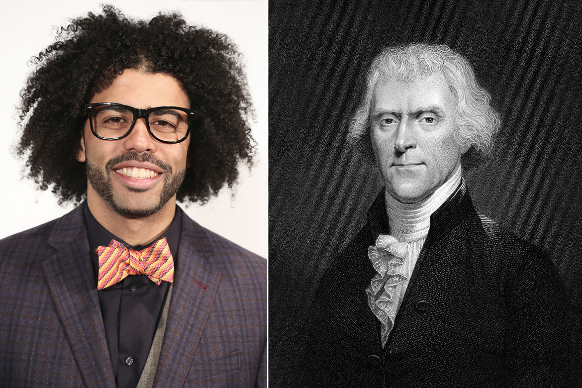 Daveed Diggs, who plays Thomas Jefferson on Broadway (L), and an illustration of Thomas Jefferson (R)