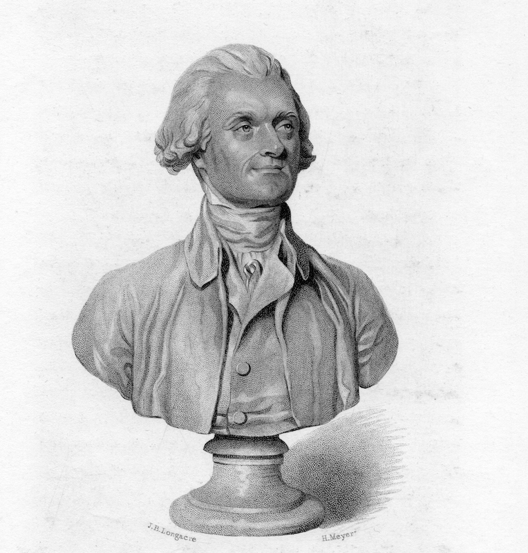 An etching of a bust of Thomas Jefferson, his face depicted with a slight smile, 1800. From the New York Public Library.