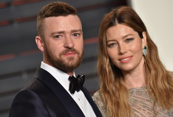 Recording artist Justin Timberlake and actress Jessica Biel arrive at the 2016 Vanity Fair Oscar Party Hosted By Graydon Carter at Wallis Annenberg Center for the Performing Arts on February 28, 2016 in Beverly Hills, California.