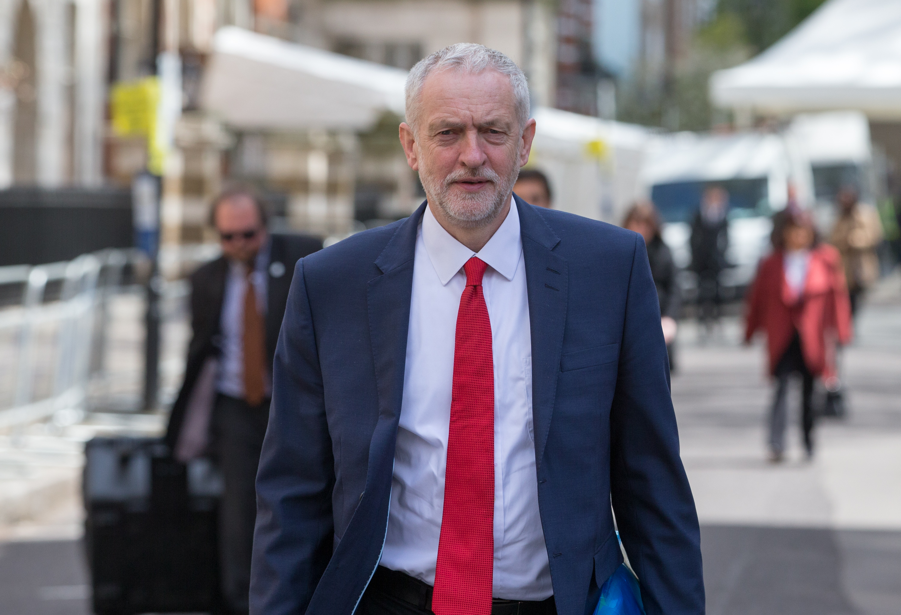 Labour Party leader Jeremy Corbyn leaves after meeting with US President Barack Obama after he spoke at the Royal Horticultural Halls in London on April 23, 2016.