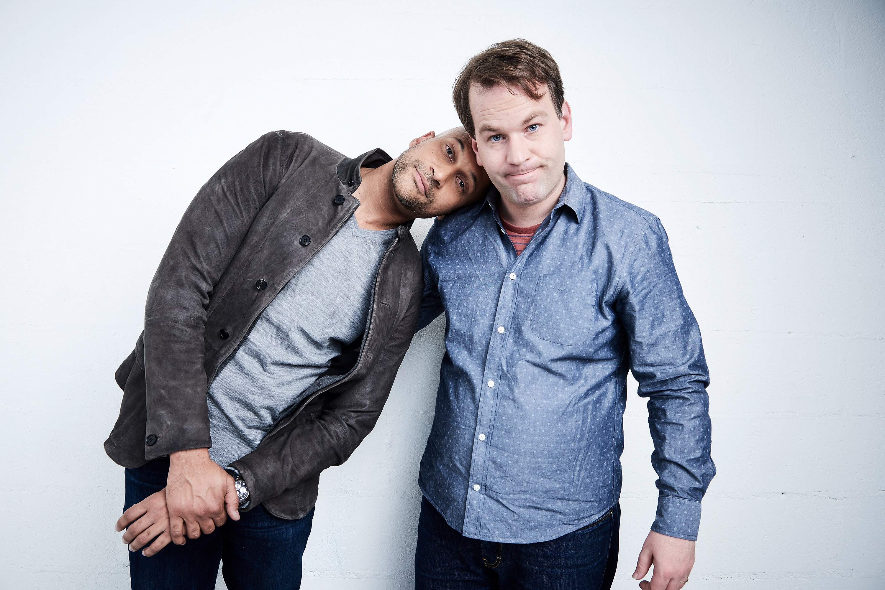 Keegan-Michael Key and Mike Birbiglia from  Don't Think Twice  pose at the Tribeca Film Festival Getty Images Studio on April 18, 2016 in New York City.