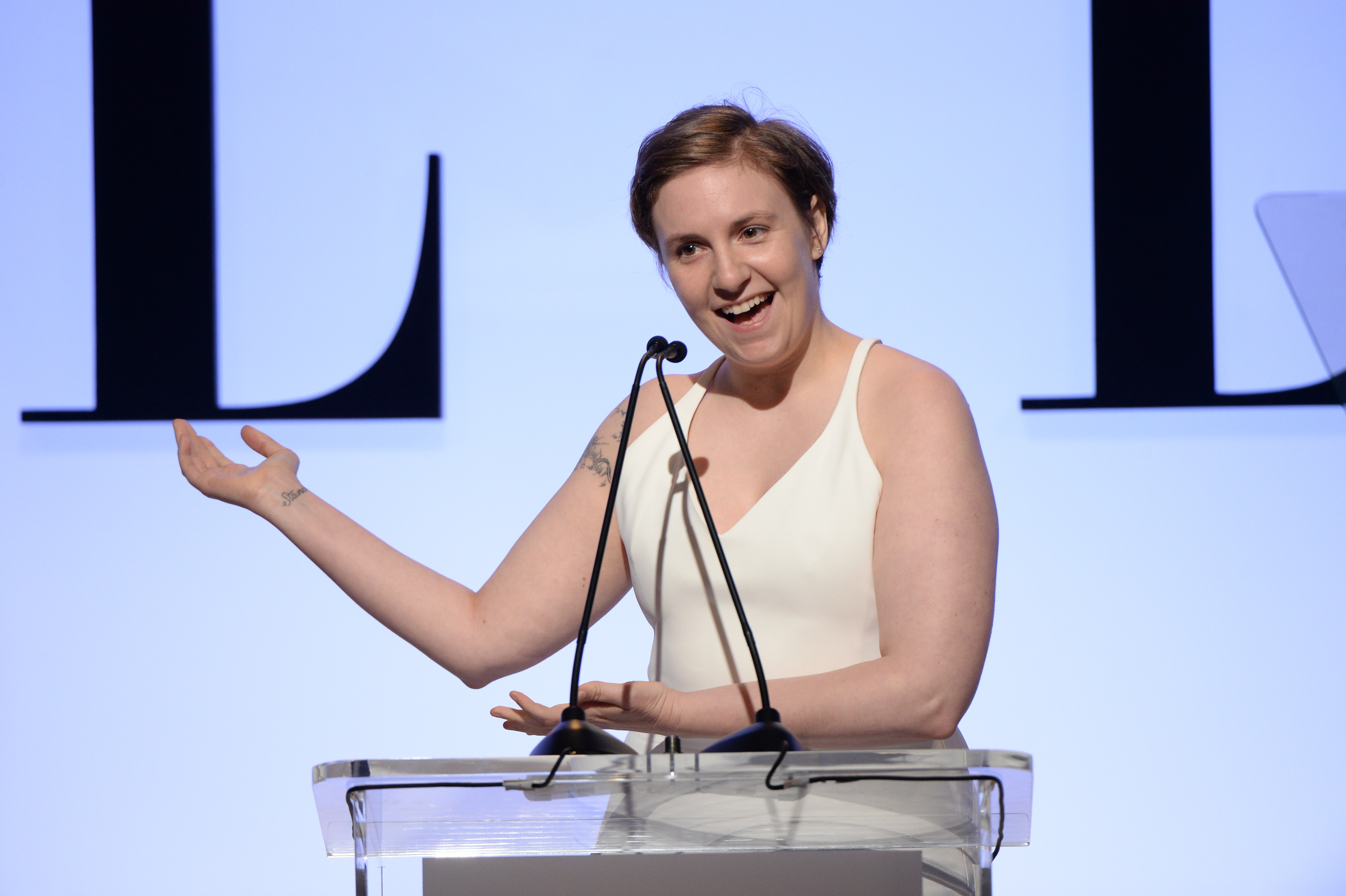 Actress Lena Dunham speaks onstage during the 22nd Annual ELLE Women in Hollywood Awards presented by Calvin Klein Collection, L'Oréal Paris, and David Yurman at the Four Seasons Los Angeles at Beverly Hills on October 19, 2015 in Beverly Hills, Calif.