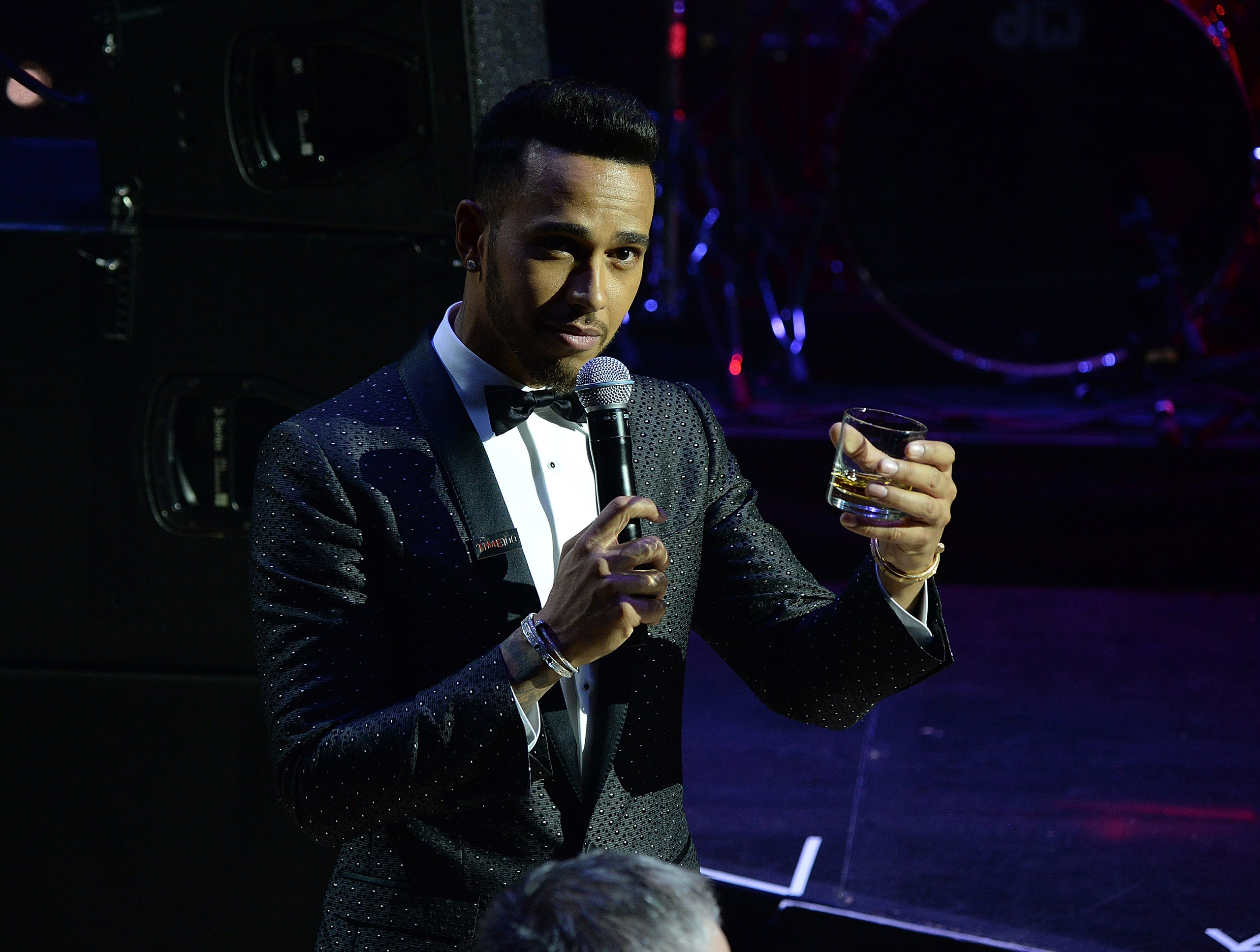 Lewis Hamilton delivers a toast at the 2016 Time 100 Gala in New York City on April 26, 2016.