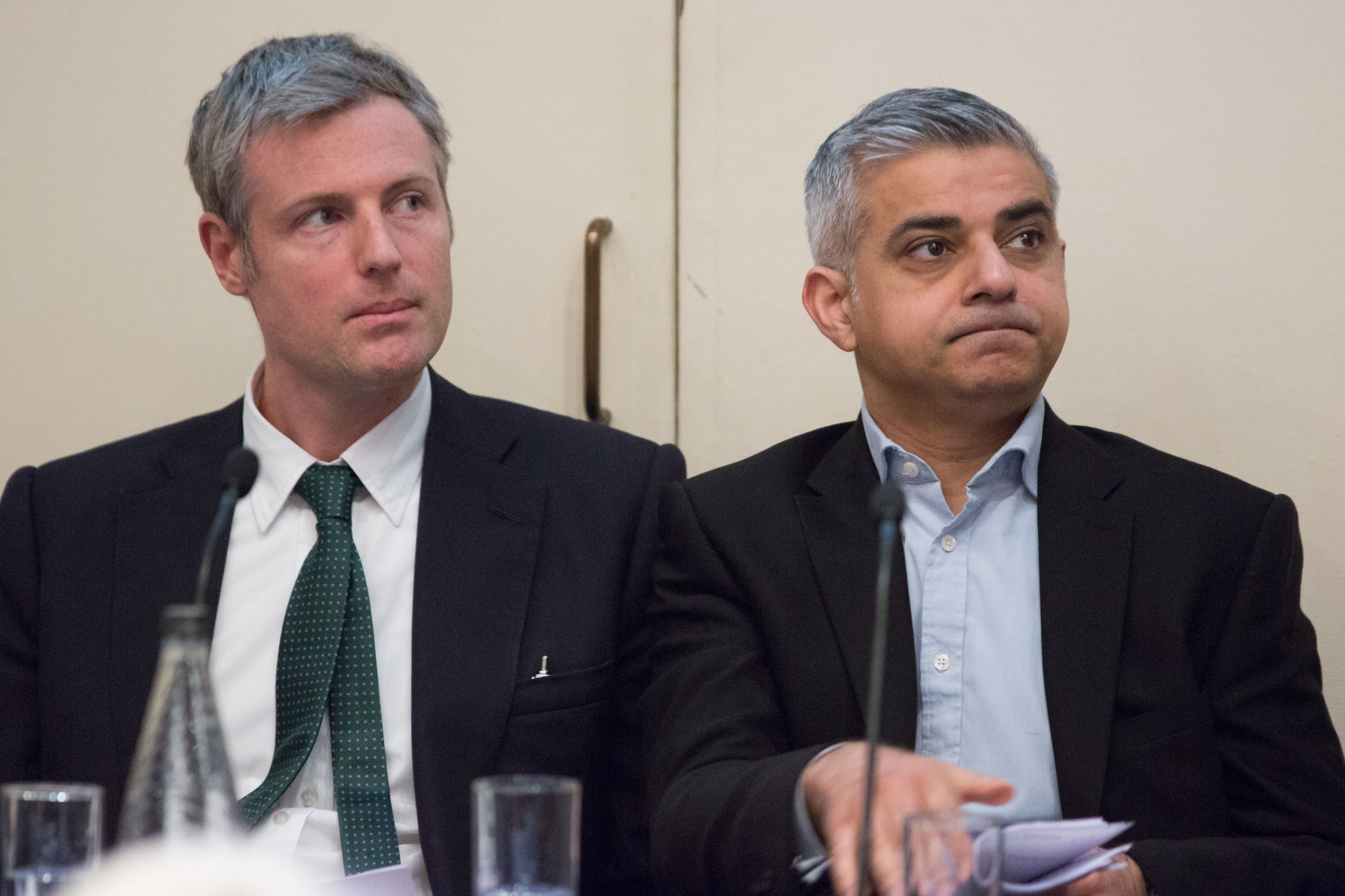 Zac Goldsmith, U.K. ruling Conservative Party candidate for the role of London Mayor, left and Sadiq Kahn, U.K. opposition Labour Party candidate for the role of London Mayor, attend the launch of the London Housing Commission Report at the Geological Society in London, U.K., on Monday, March 7, 2016.