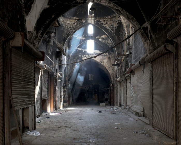 A view inside the ancient Souk of Aleppo, a UNESCO World Heritage site, March 2016.