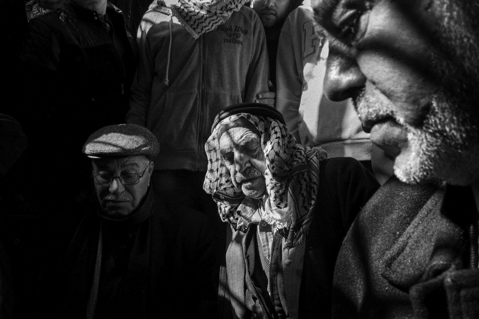 Family members attend the funeral of Shadi Arafa in Hebron, November 2015. Israel's Ministry of Foreign Affairs stated Arafa, a Palestinian mobile phone salesman, was killed by Palestinian gunfire during an attack in Gush Etzion, between Hebron and Jerusalem, but noted that official Palestinian sources said he was killed by Israeli forces.