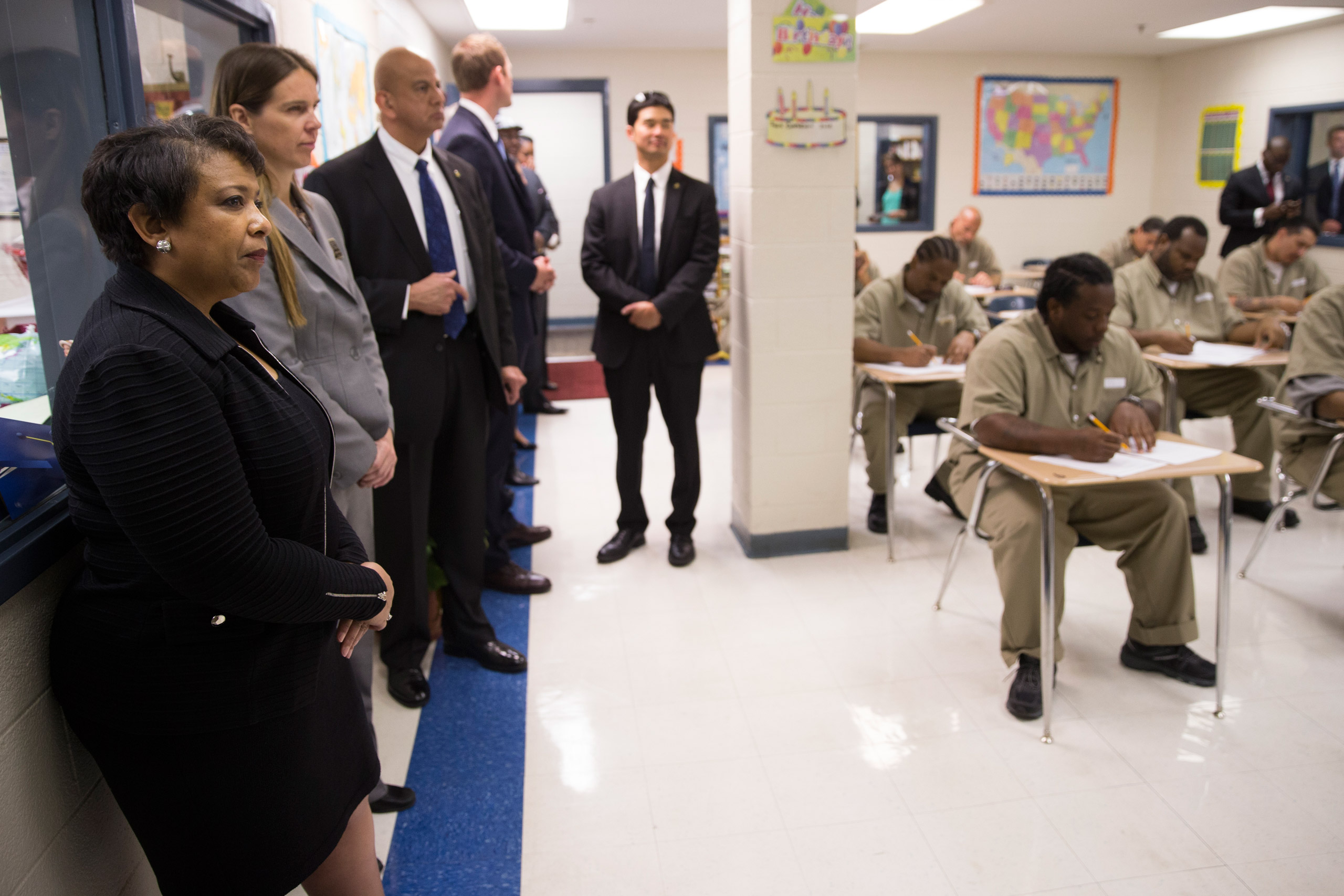 Attorney General Loretta Lynch, left, visits a classroom during a visit to the Talladega Federal Correctional Institution in Talladega, Ala., on April 29, 2016.