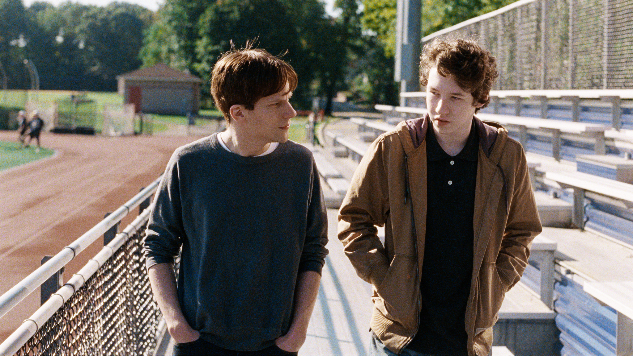 Jesse Eisenberg, left, and Devin Druid, right, in a scene from Louder Than Bombs.
