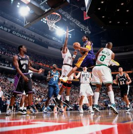 Los Angeles Lakers' Kobe Bryant (8) in action during the NBA All-Star basketball game in Philadelphia on Feb. 9, 2002.