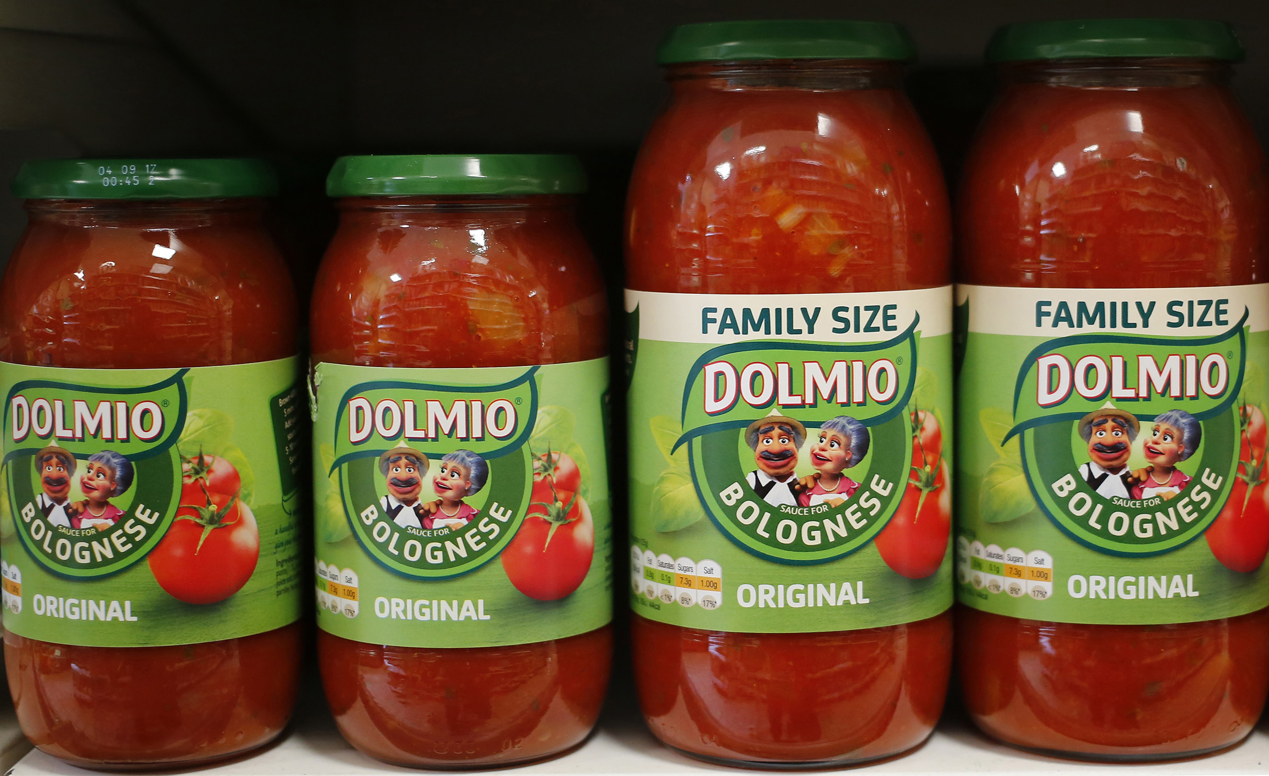 Dolmio pasta sauces are seen in a store in in London on April 15, 2016.
