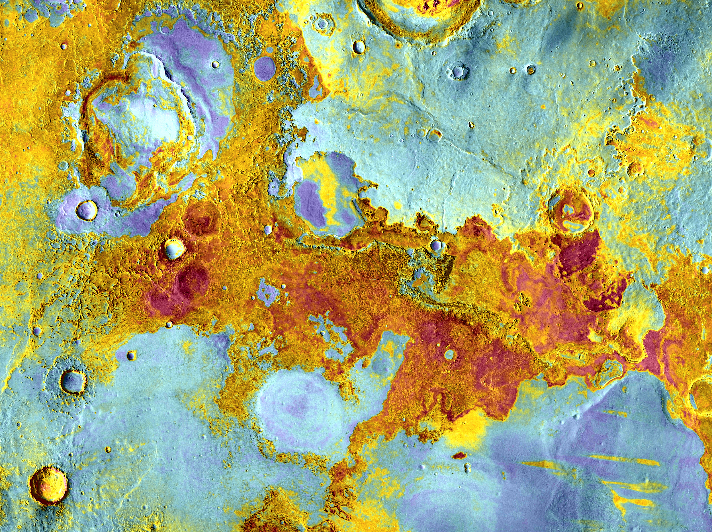 Meridiani Planum:  This image shows a false-color view of part of Meridiani Planum, about 250 miles northeast of where Opportunity landed. The image was taken by the Thermal Emission Imaging System on NASA's Mars Odyssey orbiter and released April 1, 2012.