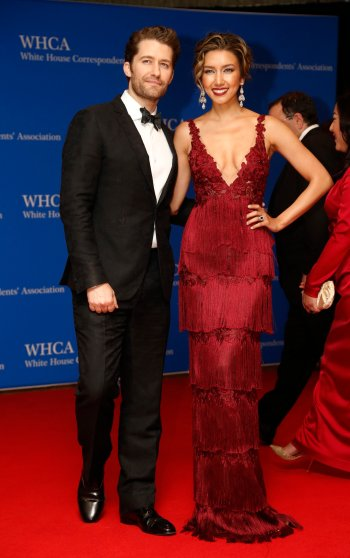 Actor Matthew Morrison and wife, Renee Puente, arrive on the red carpet for the annual White House Correspondents Association Dinner in Washington