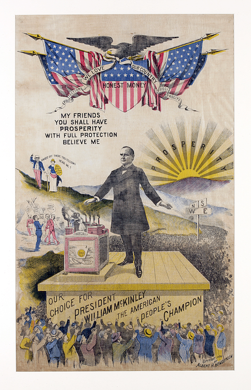 Cotton screen-printed campaign kerchief with full-length portrail of William McKinley standing on a platform surrounded by cheering crowd with a rising sun in the background, 1896.