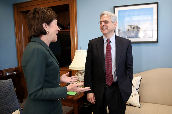 U.S. Sen. Susan Collins (R-ME) meets with Supreme Court Justice nominee Merrick Garland (R) in her office on Capitol Hill April 5, 2016 in Washington, DC.