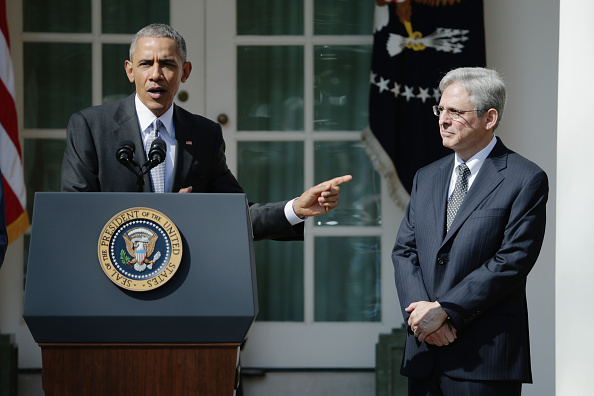 U.S. President Barack Obama (L) stands with Judge Merrick B. Garland, while nominating him to the US Supreme Court, in the Rose Garden at the White House, March 16, 2016 in Washington, DC.