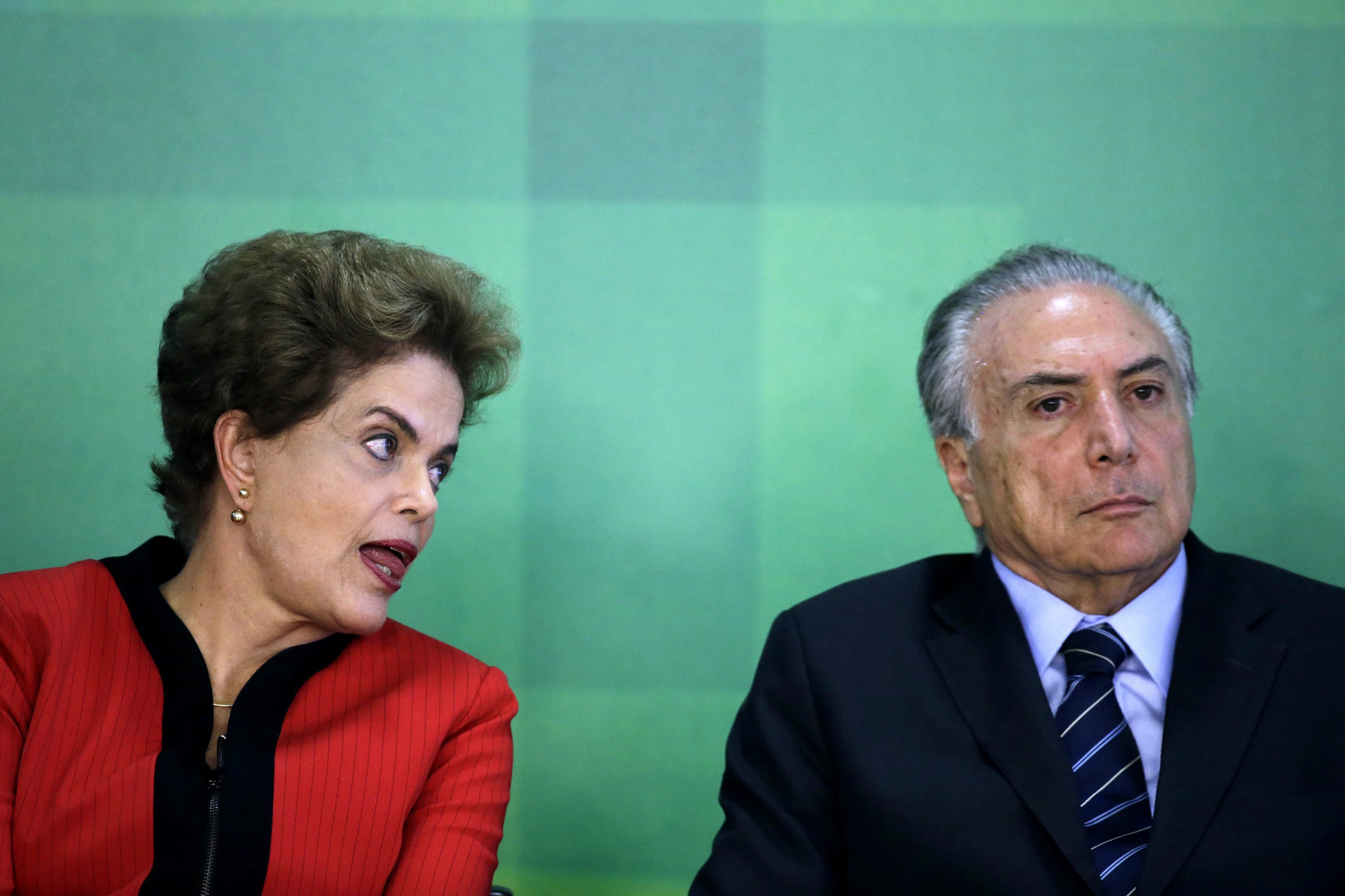 Brazilian President Dilma Rousseff and Brazilian Vice President Michel Temer during a news conference in Brasilia, March 2, 2016.