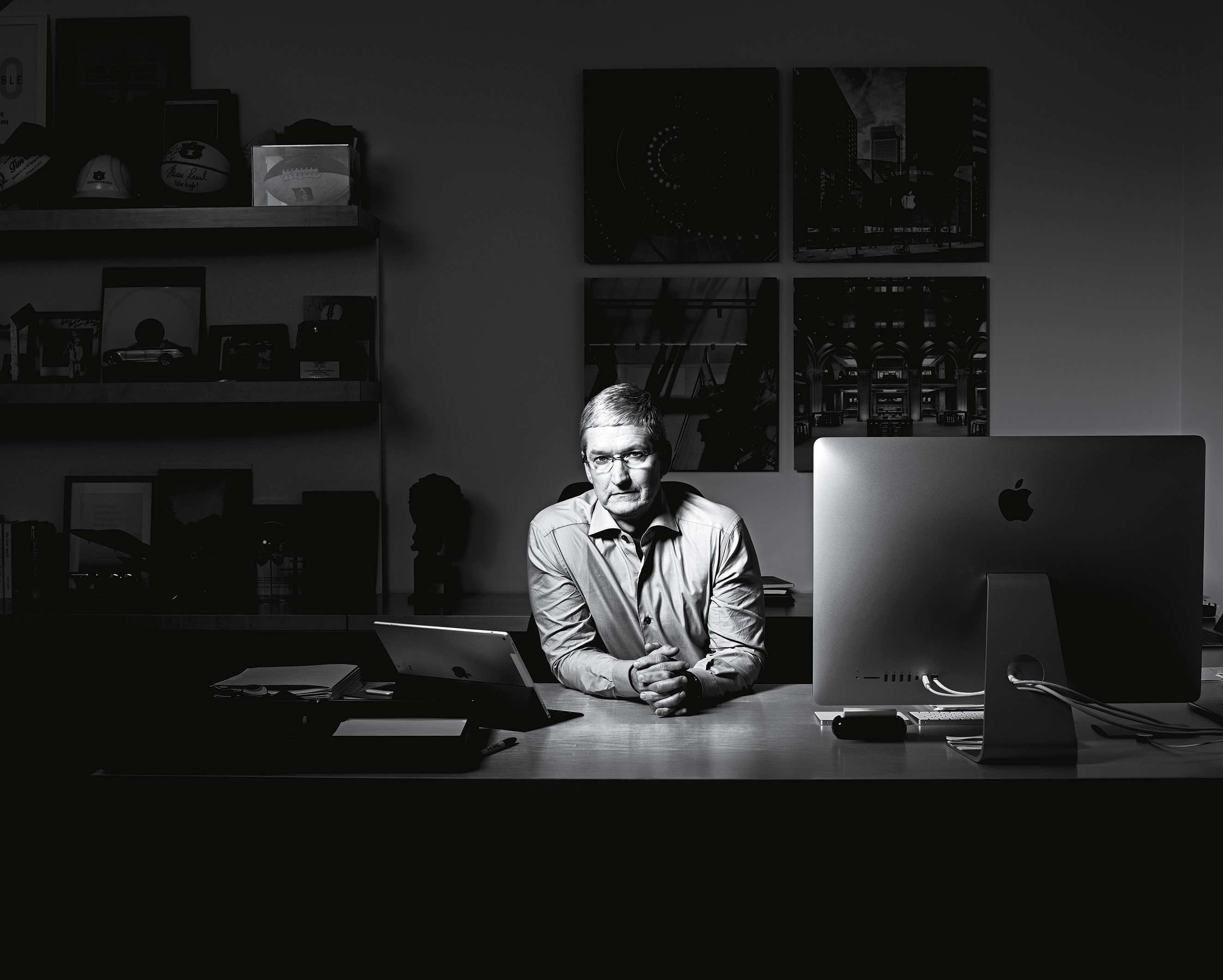 Tim Cook photographed in his office at Apple headquarters in Cupertino, California on March 14, 2016.From  Behind TIME's Cover Shoot with Apple's Tim Cook.