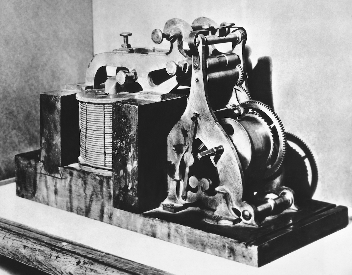 The original Morse telegraph receiver on which  What Hath God Wrought?  was received on May 24, 1844 in Washingon DC.; photographed in 1936