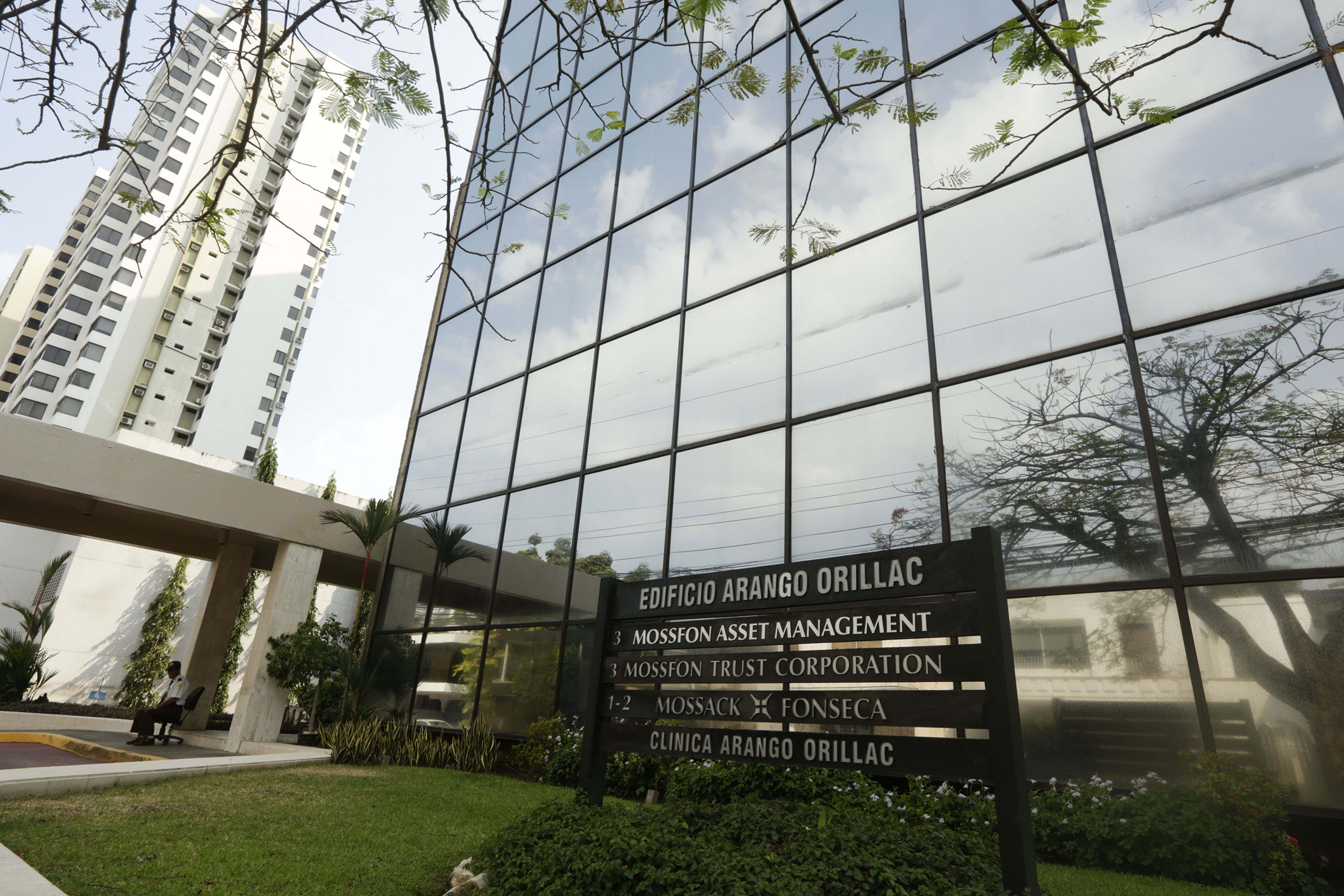 A marquee of the Arango Orillac Building lists the Mossack Fonseca law firm in Panama City on April 3, 2016.