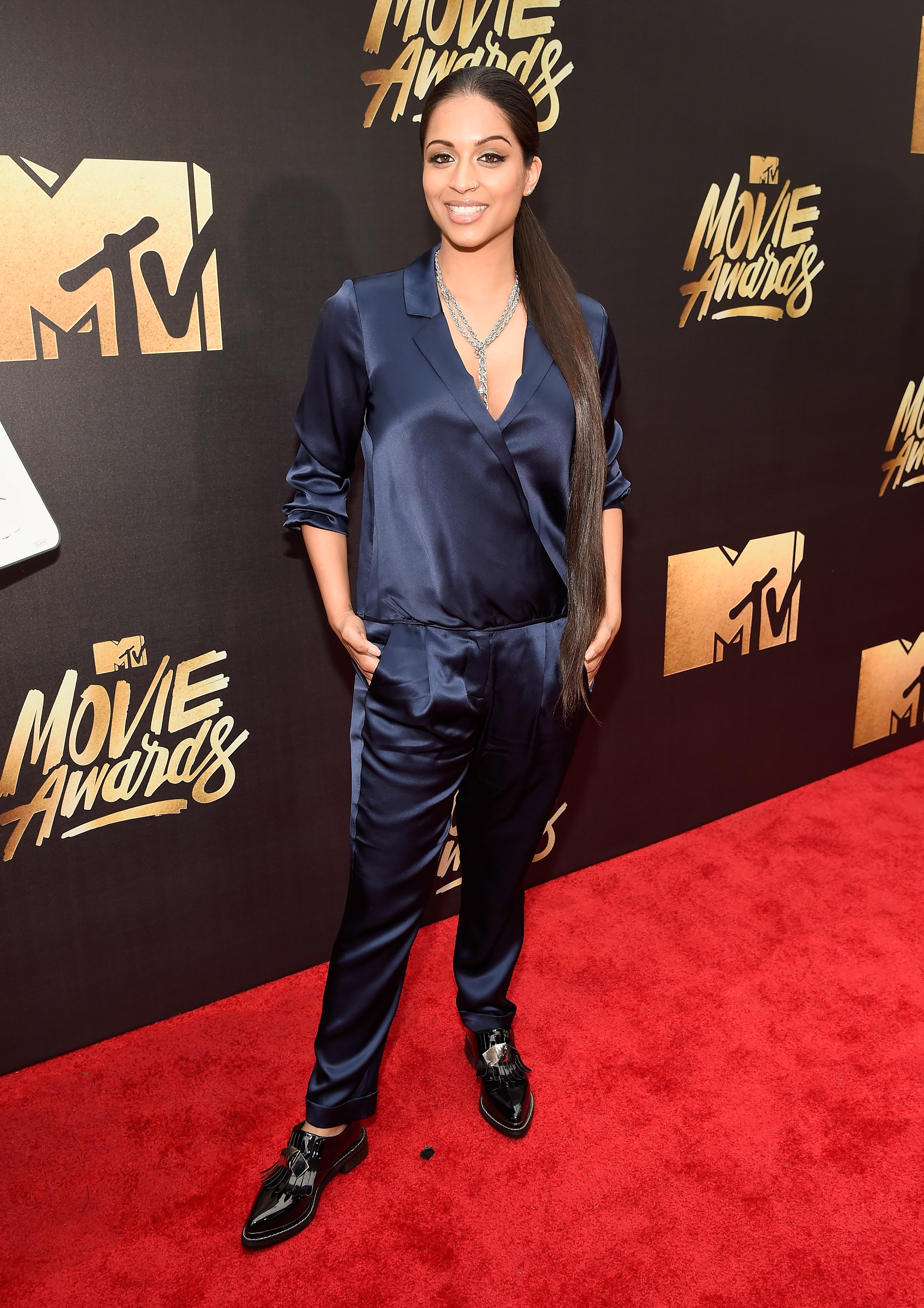 Lilly Singh attends the 2016 MTV Movie Awards at Warner Bros. Studios on April 9, 2016 in Burbank, Calif.