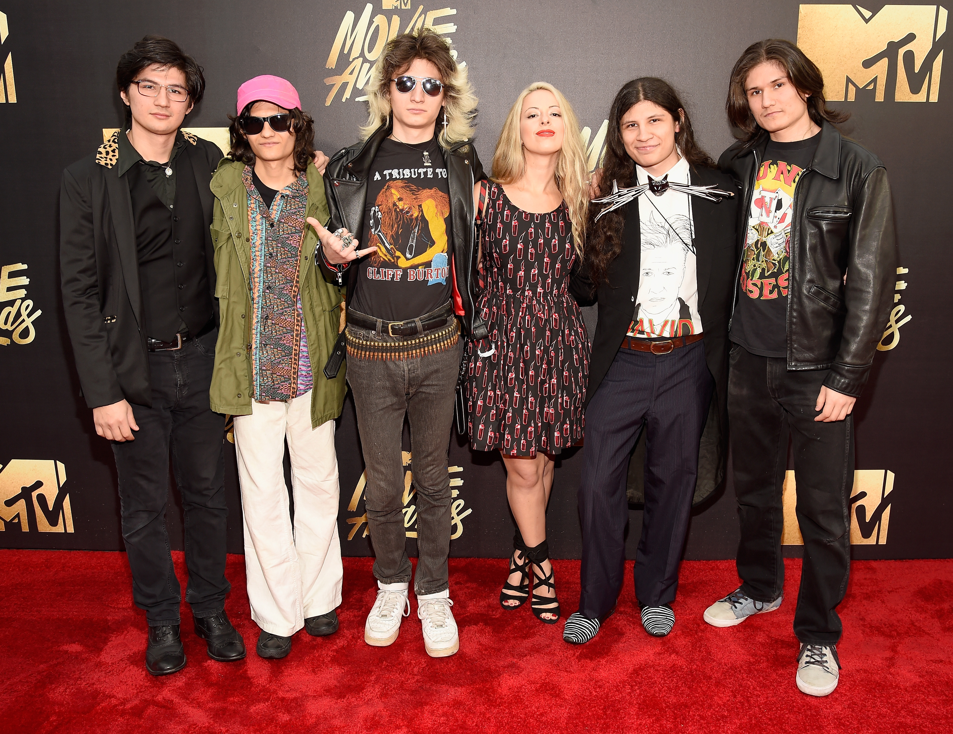 Director Crystal Moselle and  The Wolfpack  Angulo Brothers attend the 2016 MTV Movie Awards at Warner Bros. Studios on April 9, 2016 in Burbank, Calif.