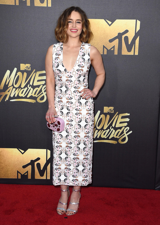 Emilia Clarke attends the 2016 MTV Movie Awards at Warner Bros. Studios on April 9, 2016 in Burbank, Calif.