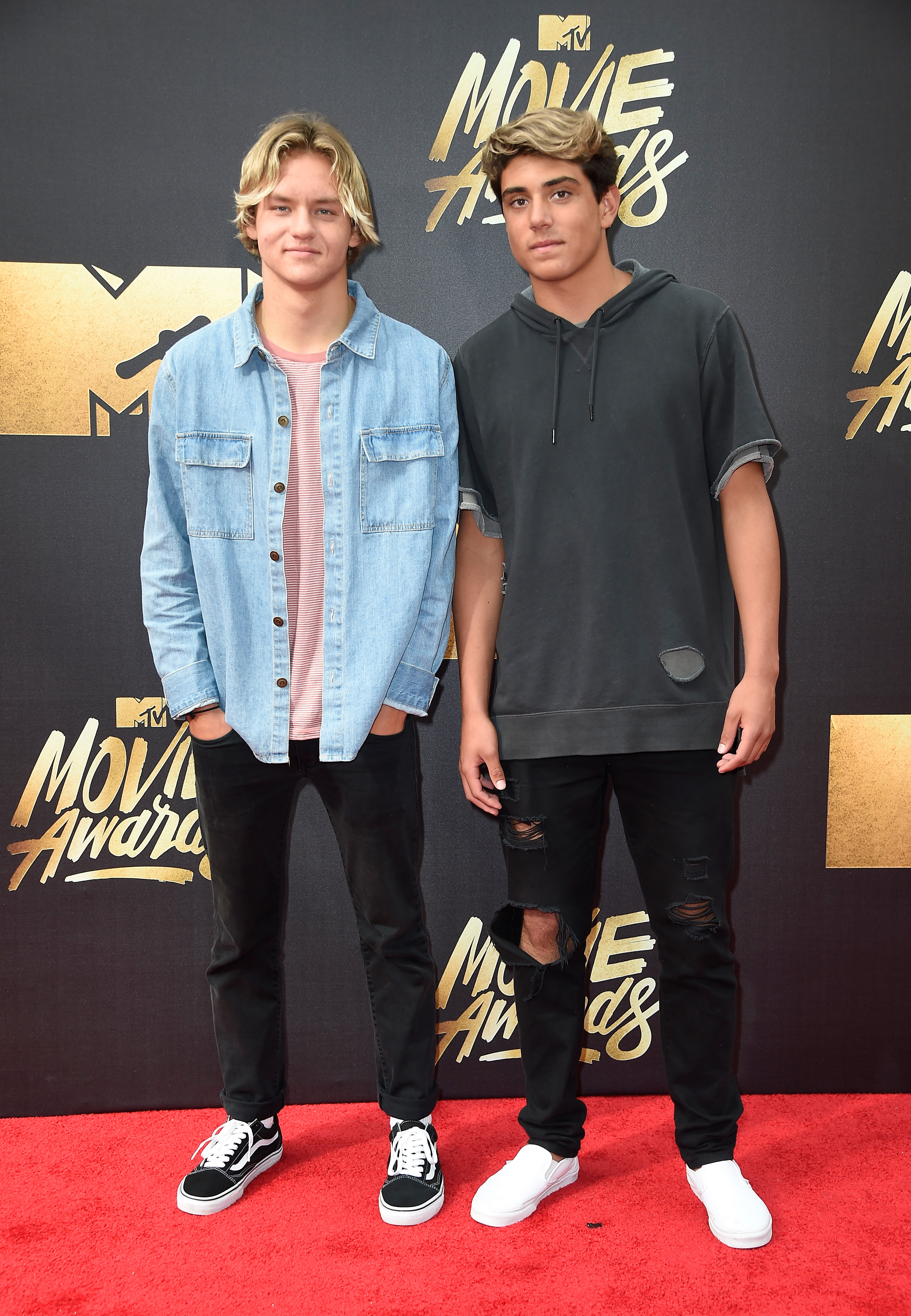 Joshua Holz and Daniel Lara attend the 2016 MTV Movie Awards at Warner Bros. Studios on April 9, 2016 in Burbank, Calif.