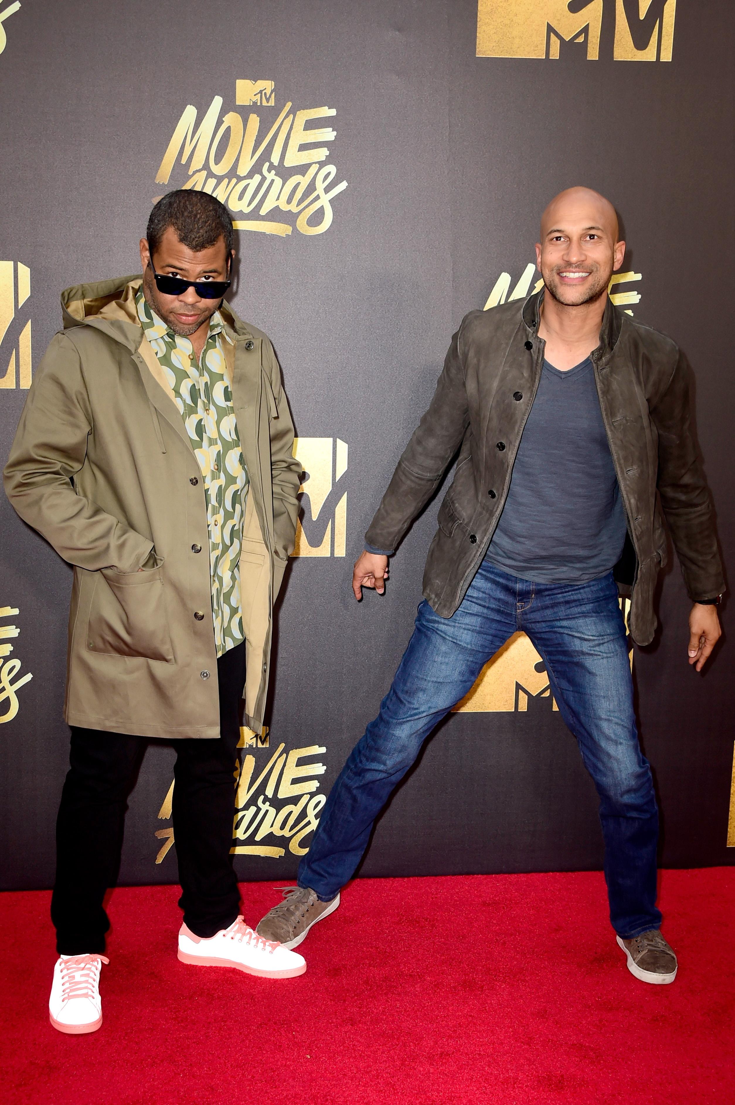 Jordan Peele and Keegan-Michael Key attend the 2016 MTV Movie Awards at Warner Bros. Studios on April 9, 2016 in Burbank, Calif.