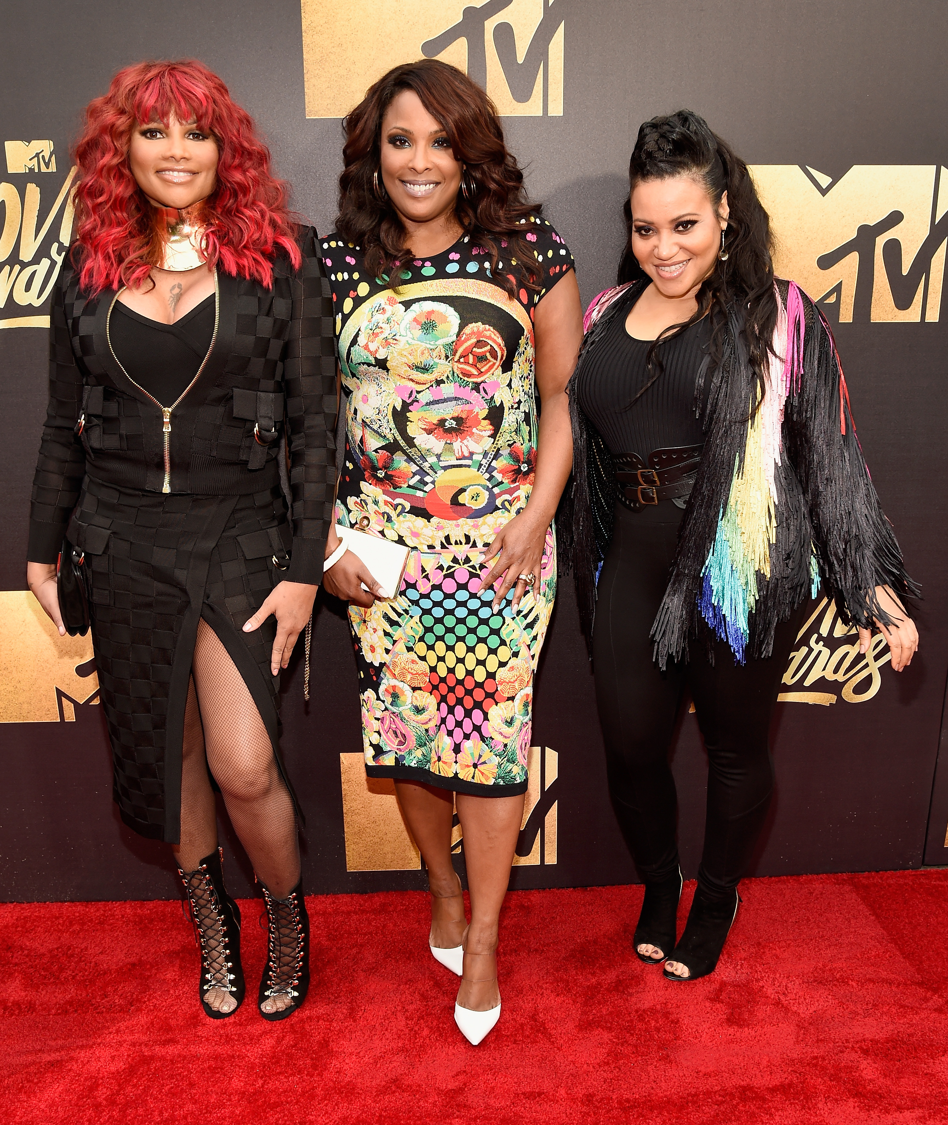 Sandra  Pepa  Denton, Deidra Muriel Roper, aka DJ Spinderella, and Cheryl  Salt  James of Salt-N-Pepa attend the 2016 MTV Movie Awards at Warner Bros. Studios on April 9, 2016 in Burbank, Calif.