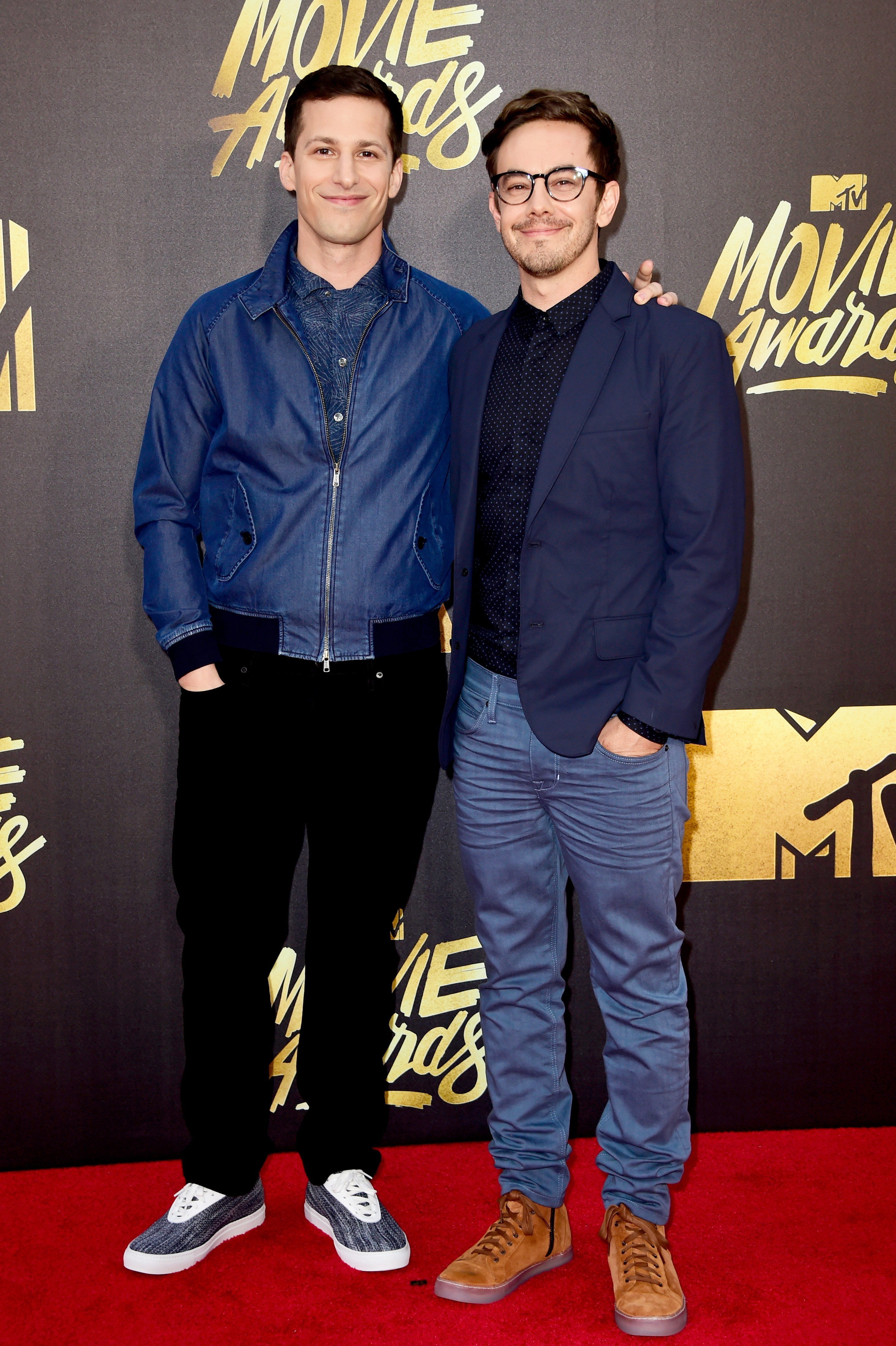 Andy Samberg and Jorma Taccone of The Lonely Island attend the 2016 MTV Movie Awards at Warner Bros. Studios on April 9, 2016 in Burbank, Calif.