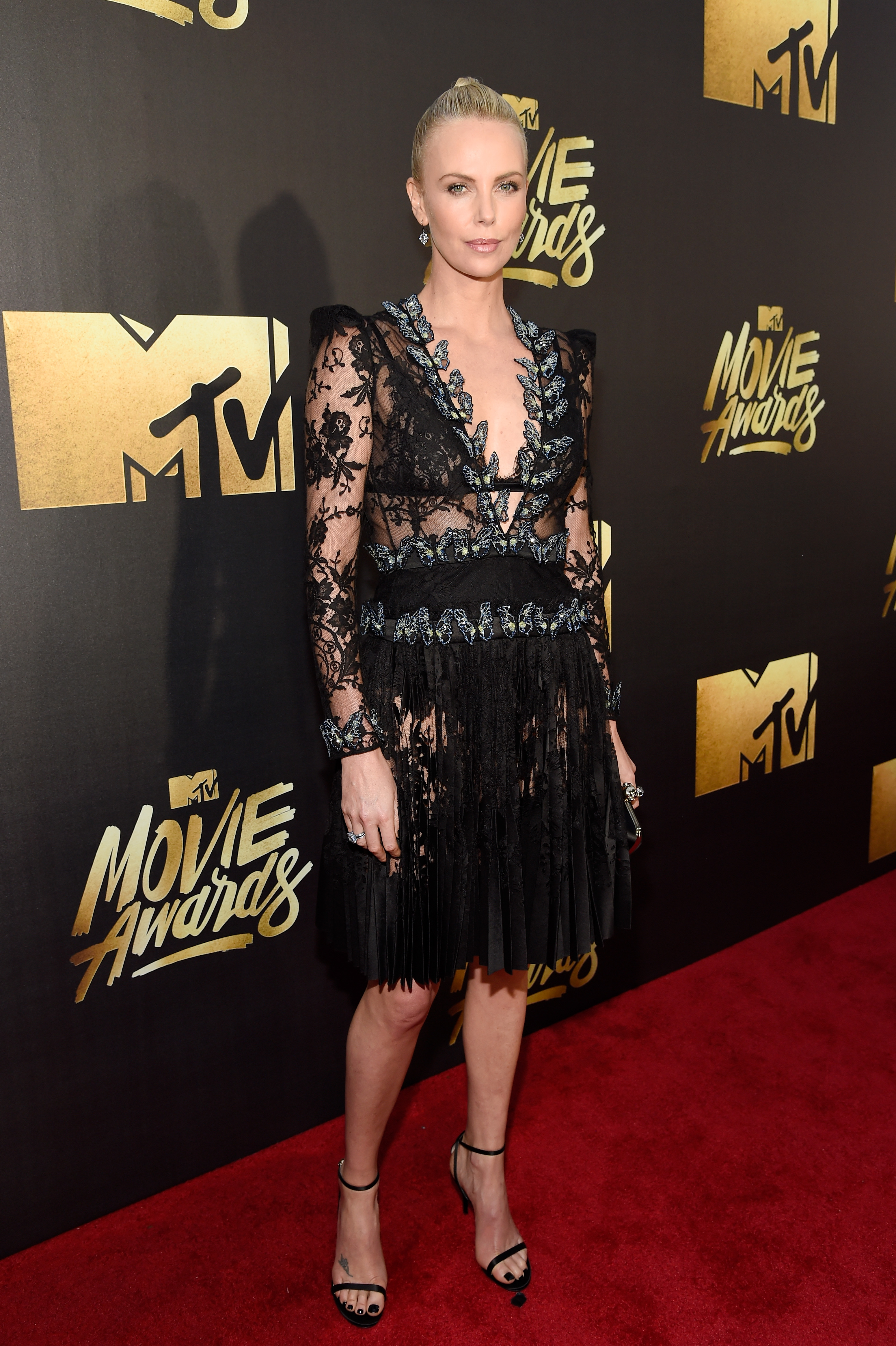 Charlize Theron attends the 2016 MTV Movie Awards at Warner Bros. Studios on April 9, 2016 in Burbank, Calif.