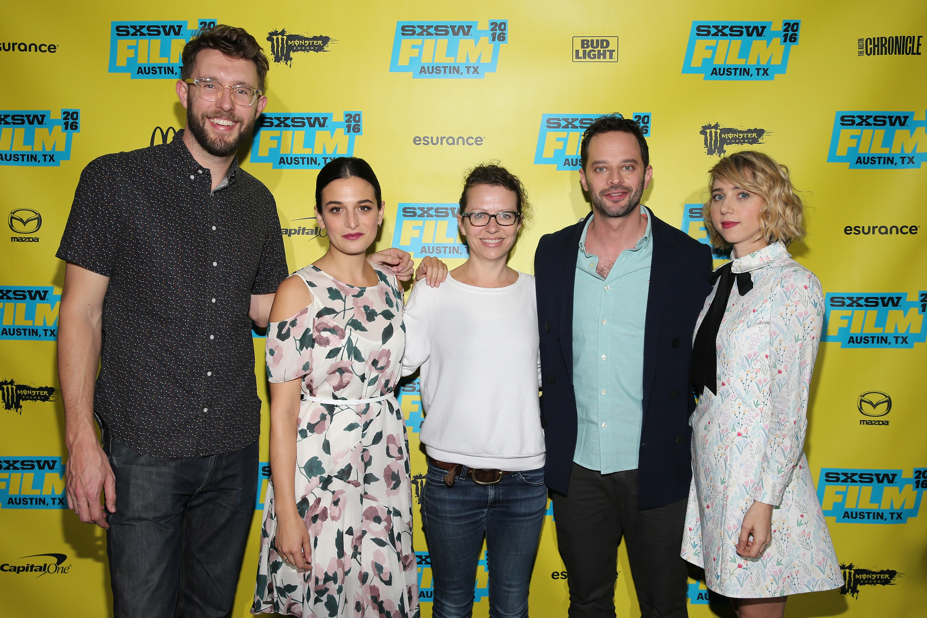 Charlie Hewson, Jenny Slate, Sophie Goodhart, Nick Kroll and Zoe Kazan attend the  My Blind Brother  premiere during the 2016 SXSW Festival on March 12, 2016 in Austin, Texas.