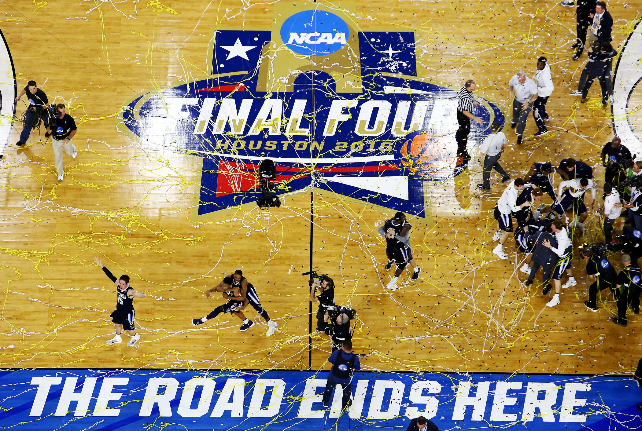 The Villanova Wildcats celebrate defeating the North Carolina Tar Heels 77-74 to win the 2016 NCAA college basketball National Championship  game on April 4, 2016 in Houston.