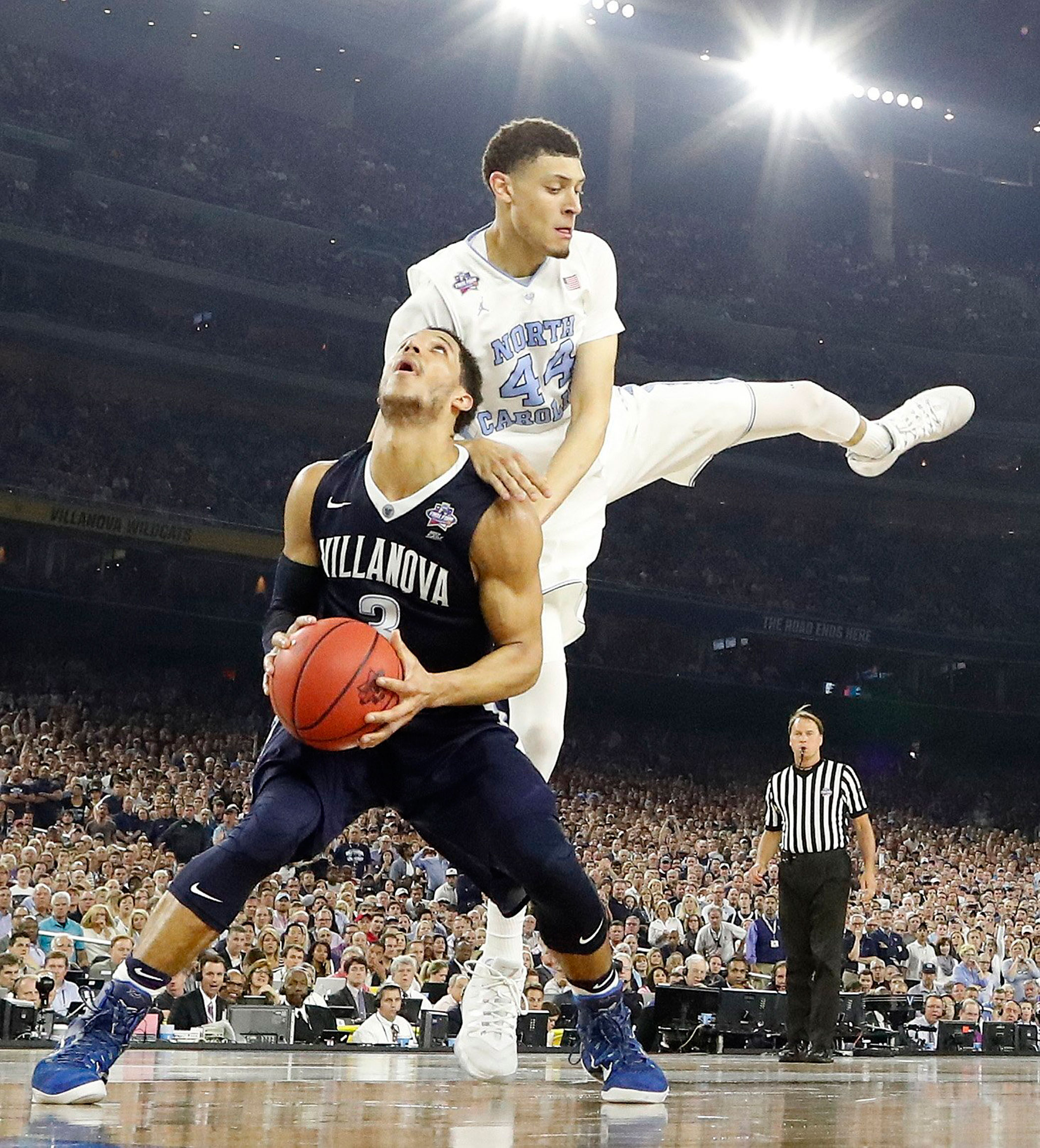 Villanova guard Josh Hart (3) prepares to shoots as North Carolina forward Justin Jackson (44) defends during the second half of the NCAA college basketball National Championship  game on April 4, 2016 in Houston.