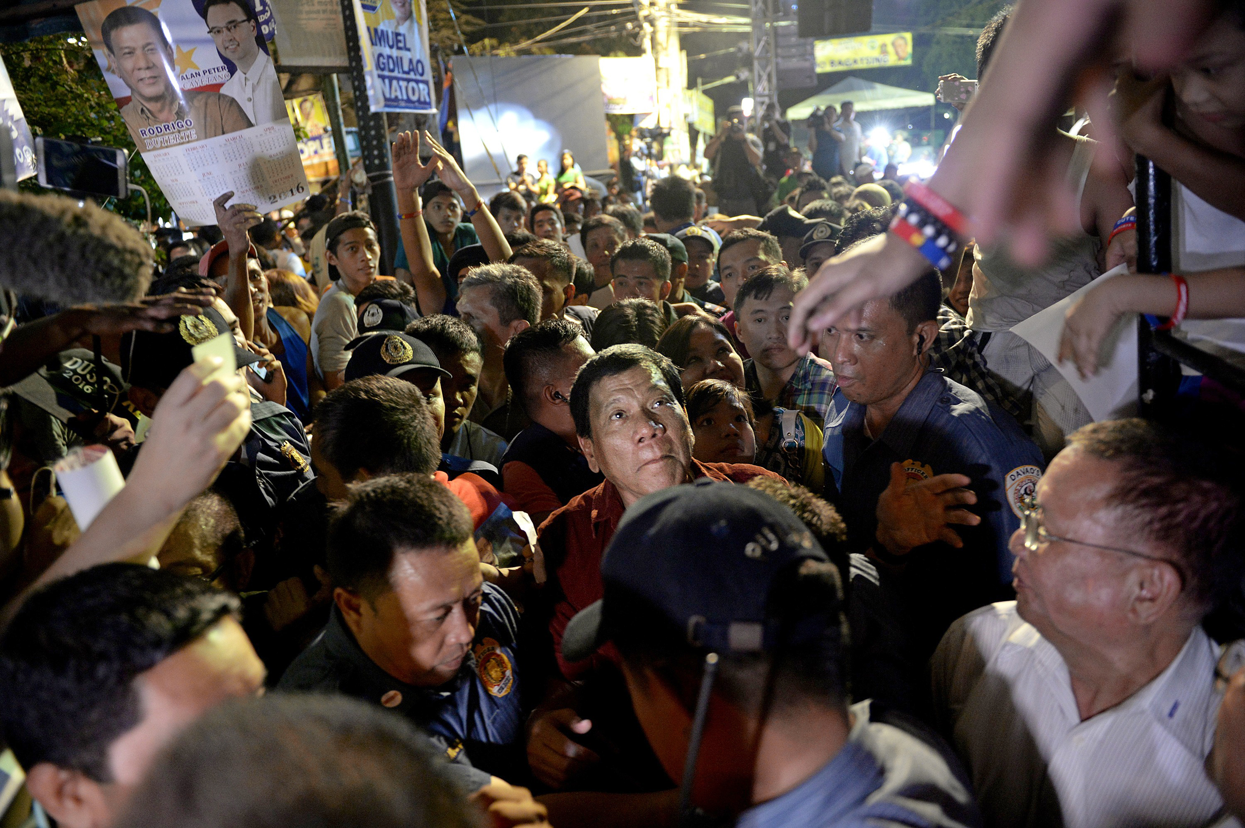 "Mayor Rodrigo ""the Punisher"" Duterte greets supporters in Manila in February"