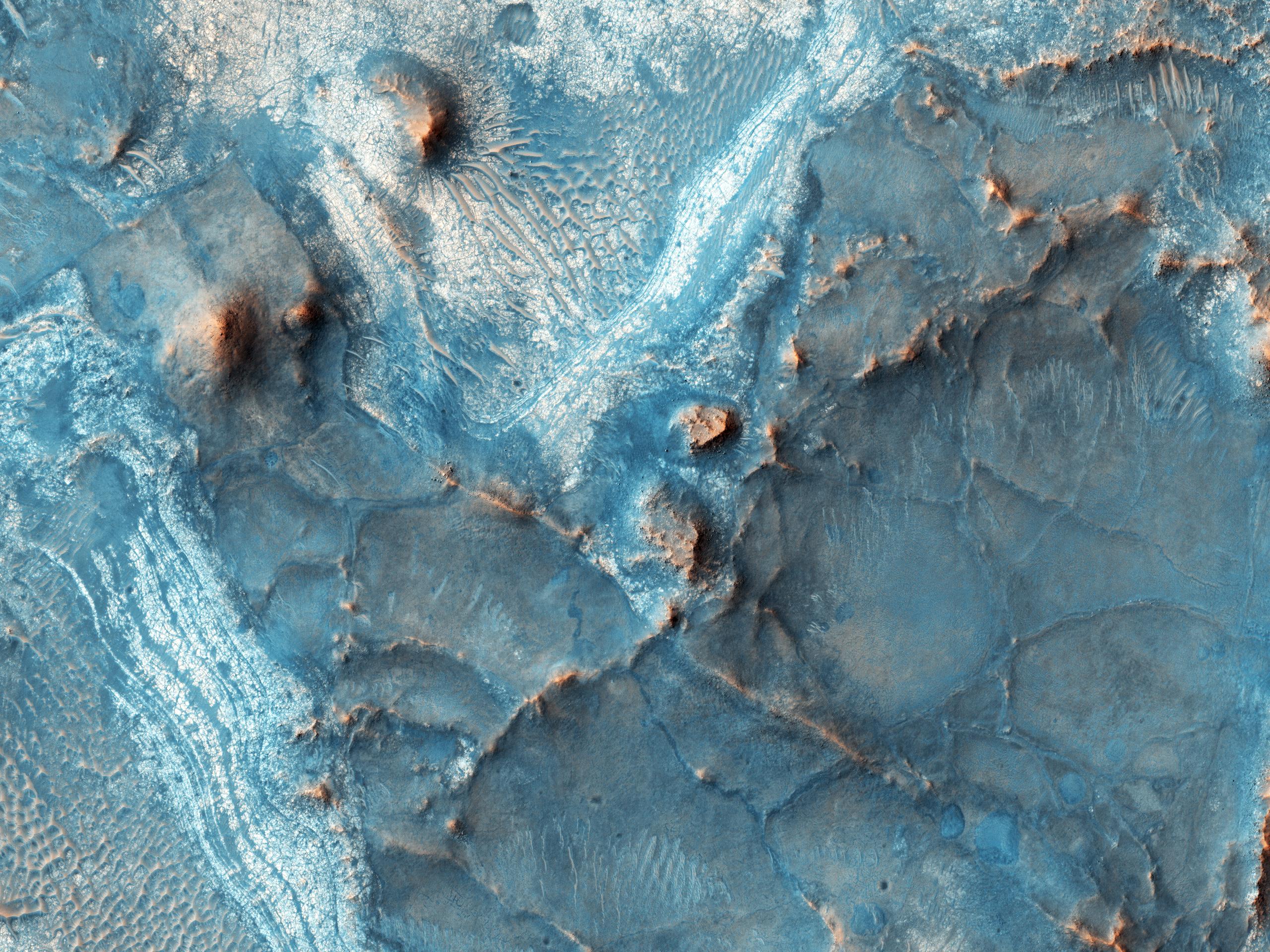 The Nili Fossae region on the northwest rim of Isidis impact basin, Mars, on Feb. 5, 2016.